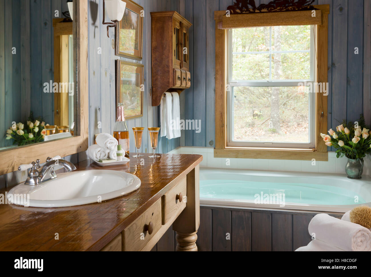 Luxury bath in country style, Selah Ranch, Texas, USA Stock Photo ...