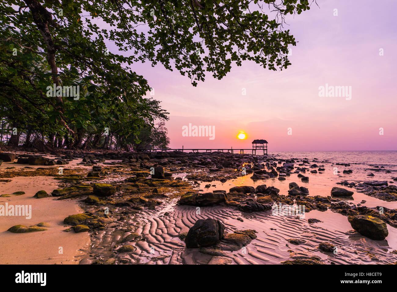 Sunset over the beach, island Koh Kood, Thailand. - Stock Image