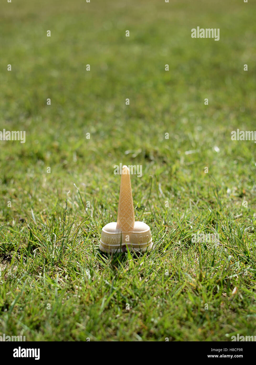 child dropped ice cream cone in grass on a hot summers day - Stock Image