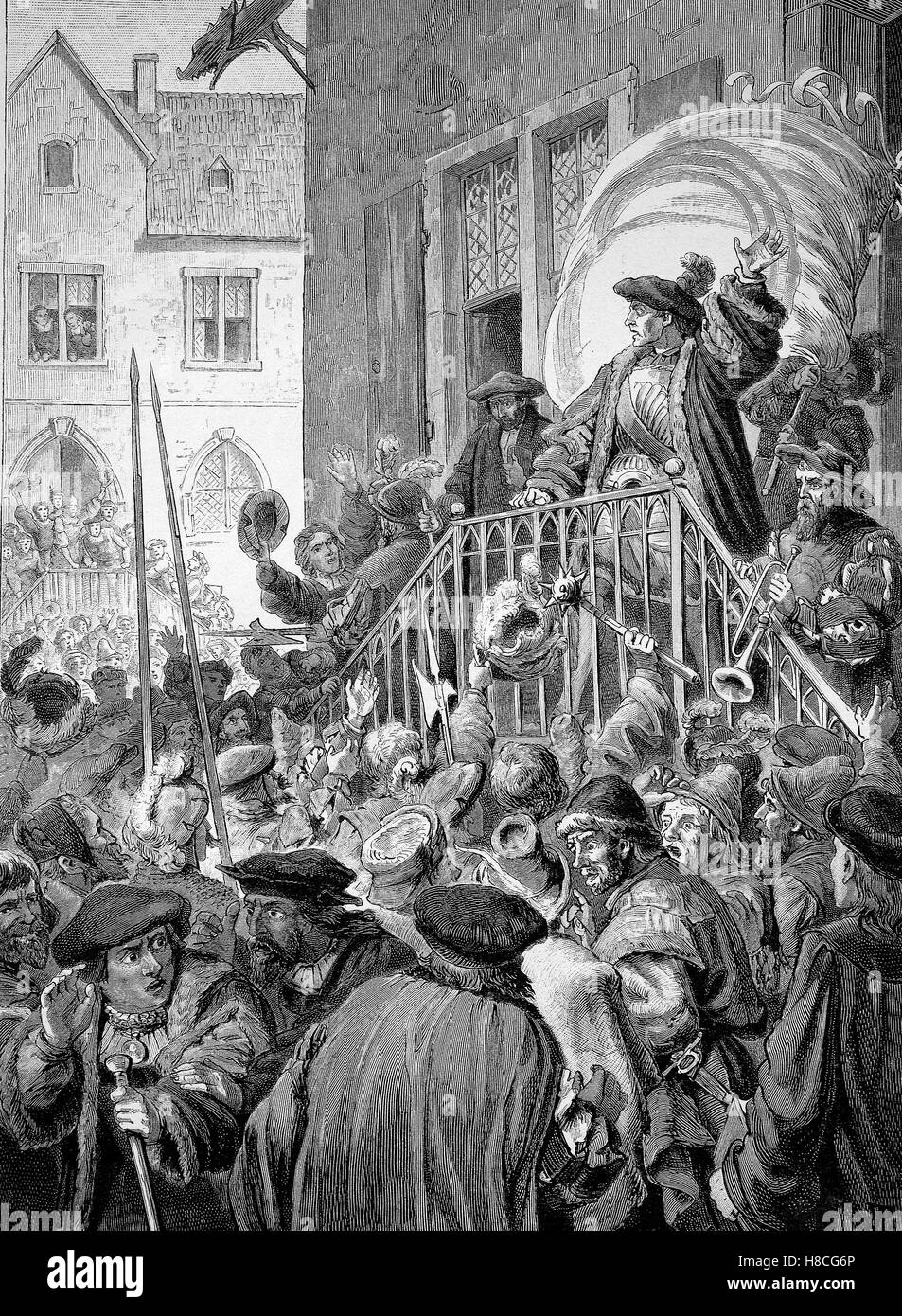 Thomas Munzer calls the people of Muehlhausen to revolt on, Woodcut from 1892 - Stock Image