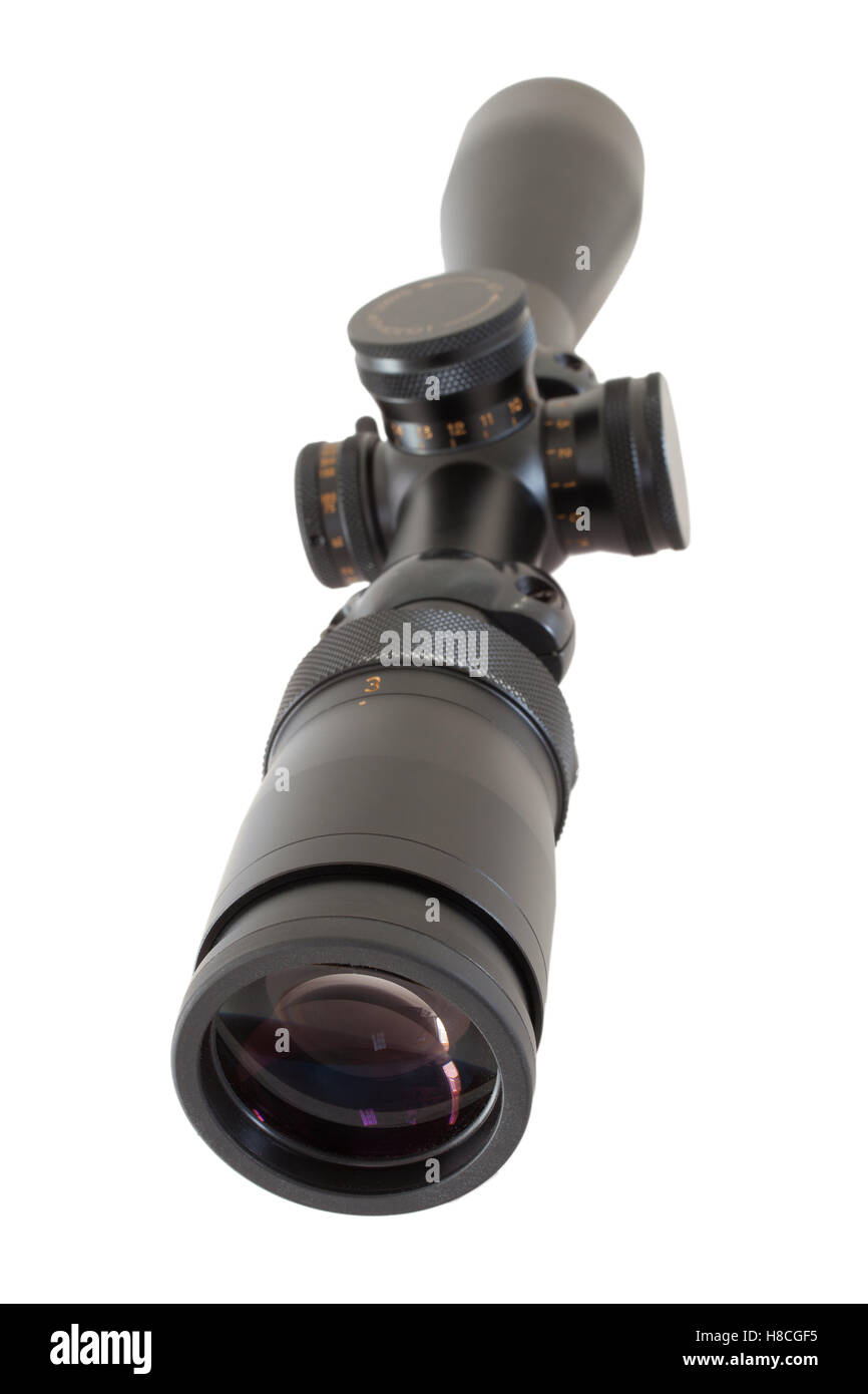 Scope that is used for long shots on a high powered rifle Stock Photo