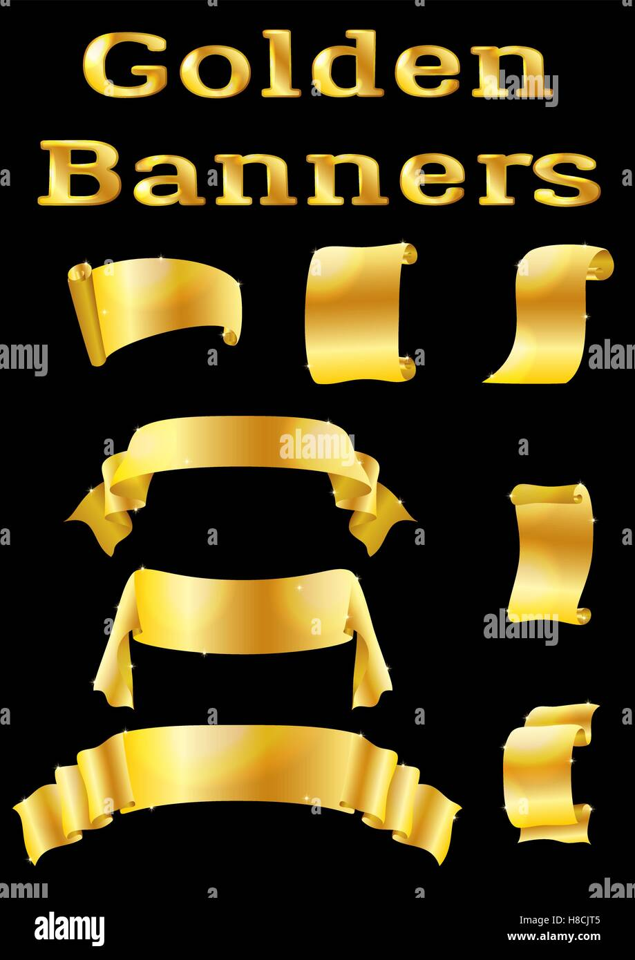 Golden Banners, Set Stock Vector