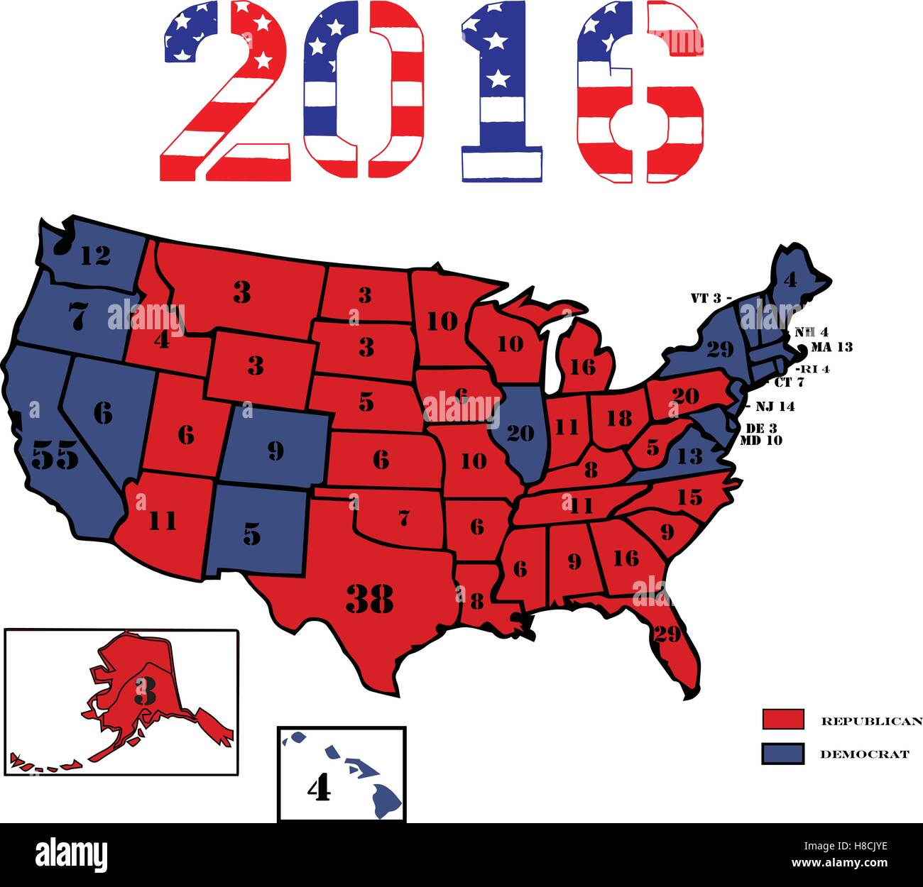 Us Map Democrat Republican States 2016.50 United States Colored In Republican Red Democrat Blue And Stock