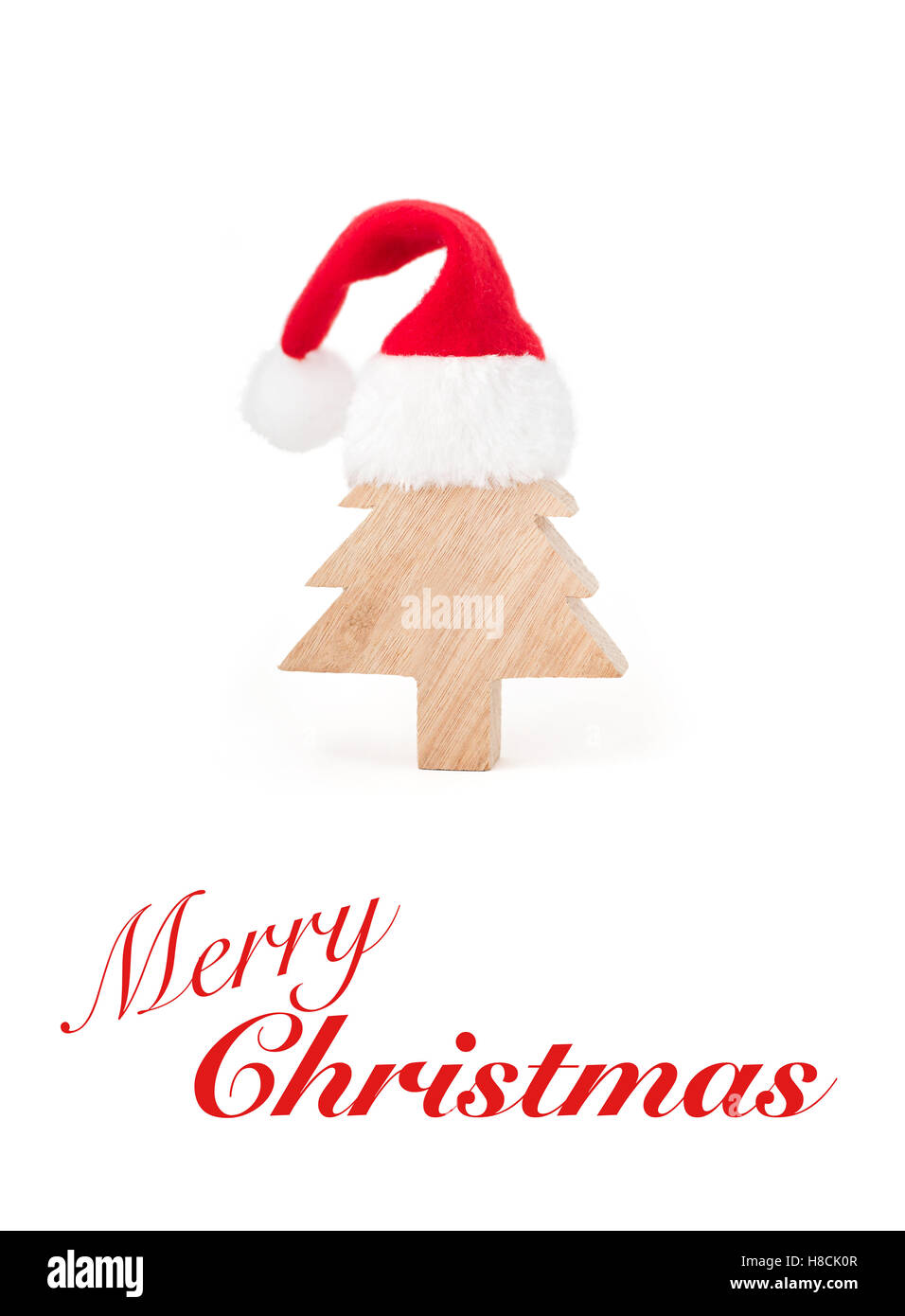 Cute Merry Christmas Greeting Card With A Wooden Christmas Tree And