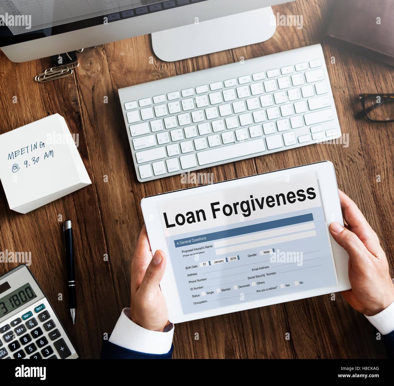 Loan Forgiveness Debt Filling Application Concept - Stock Image