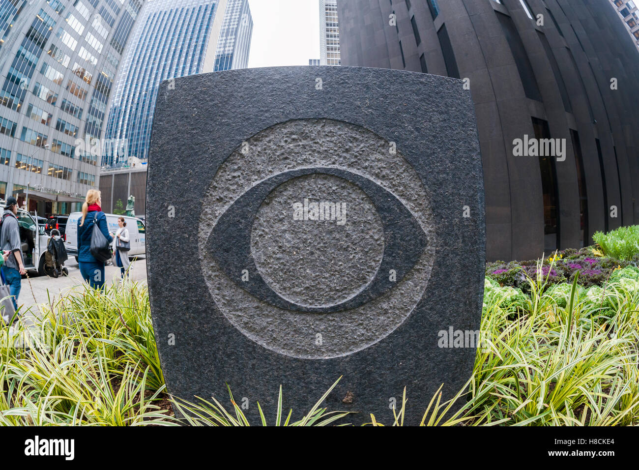 A decorative element with the CBS logo outside of Black Rock, the CBS headquarters in New York on Thursday, November - Stock Image