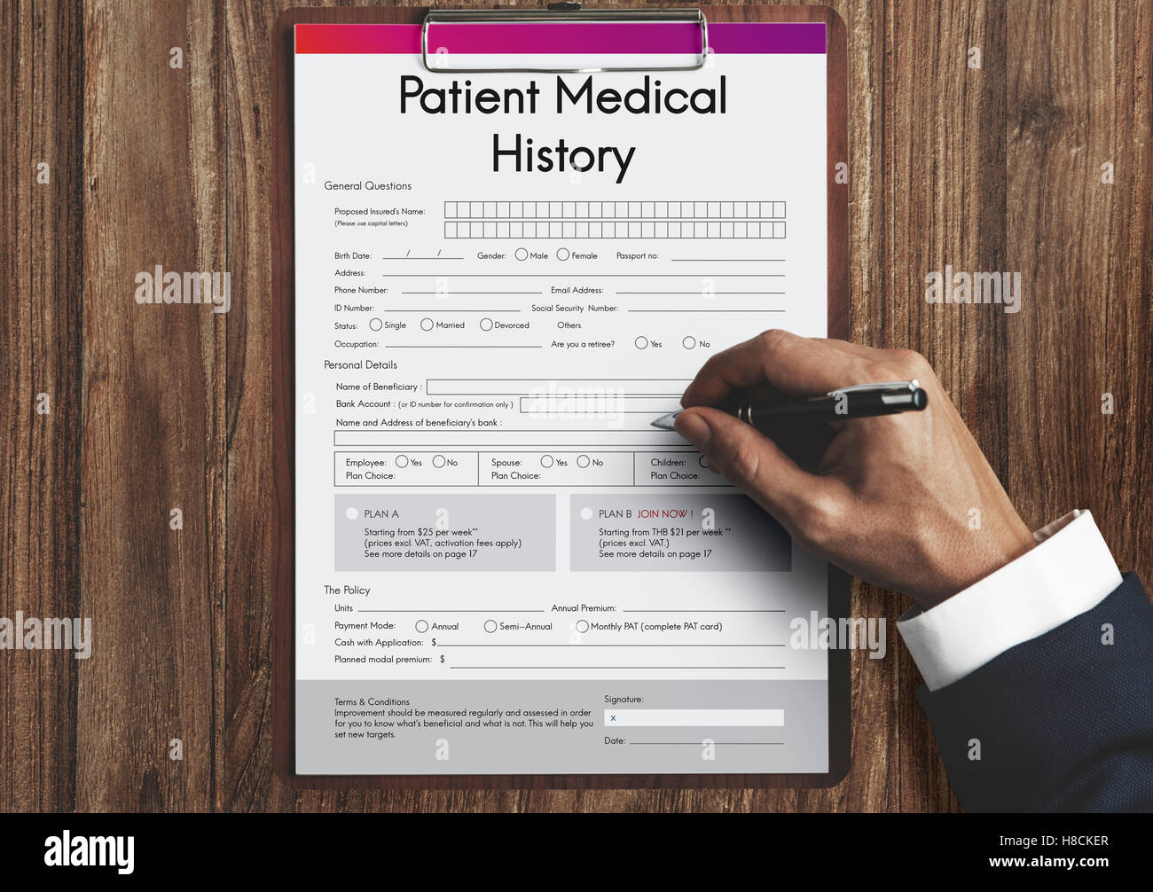 patient medical history form concept stock photo 125668559 alamy