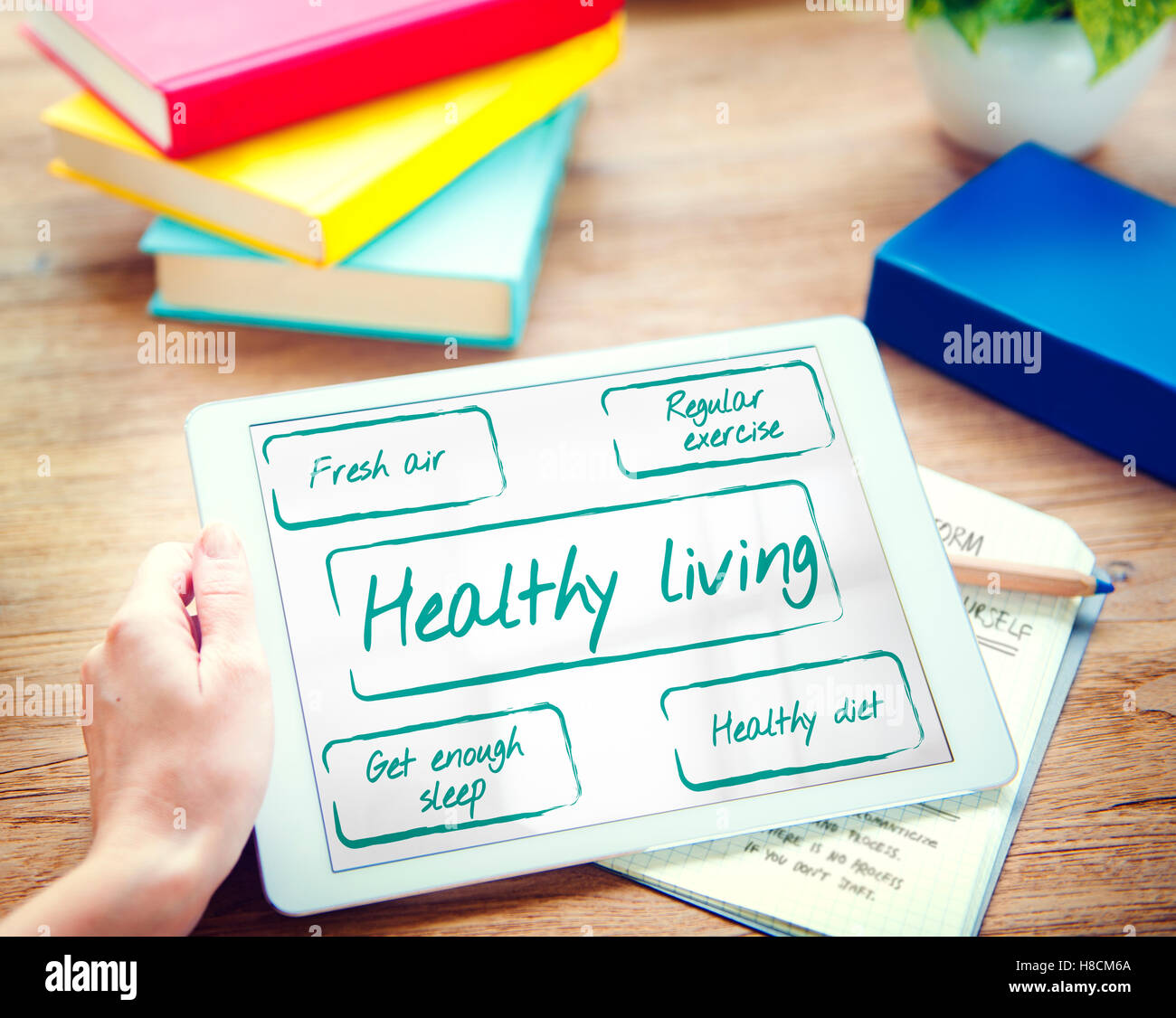 Healthy Living Wellness Diet Exercise Words Graphic Concept - Stock Image