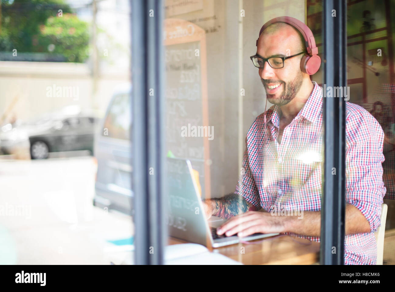 Music Song Listening Playlist Digital Man Concept - Stock Image