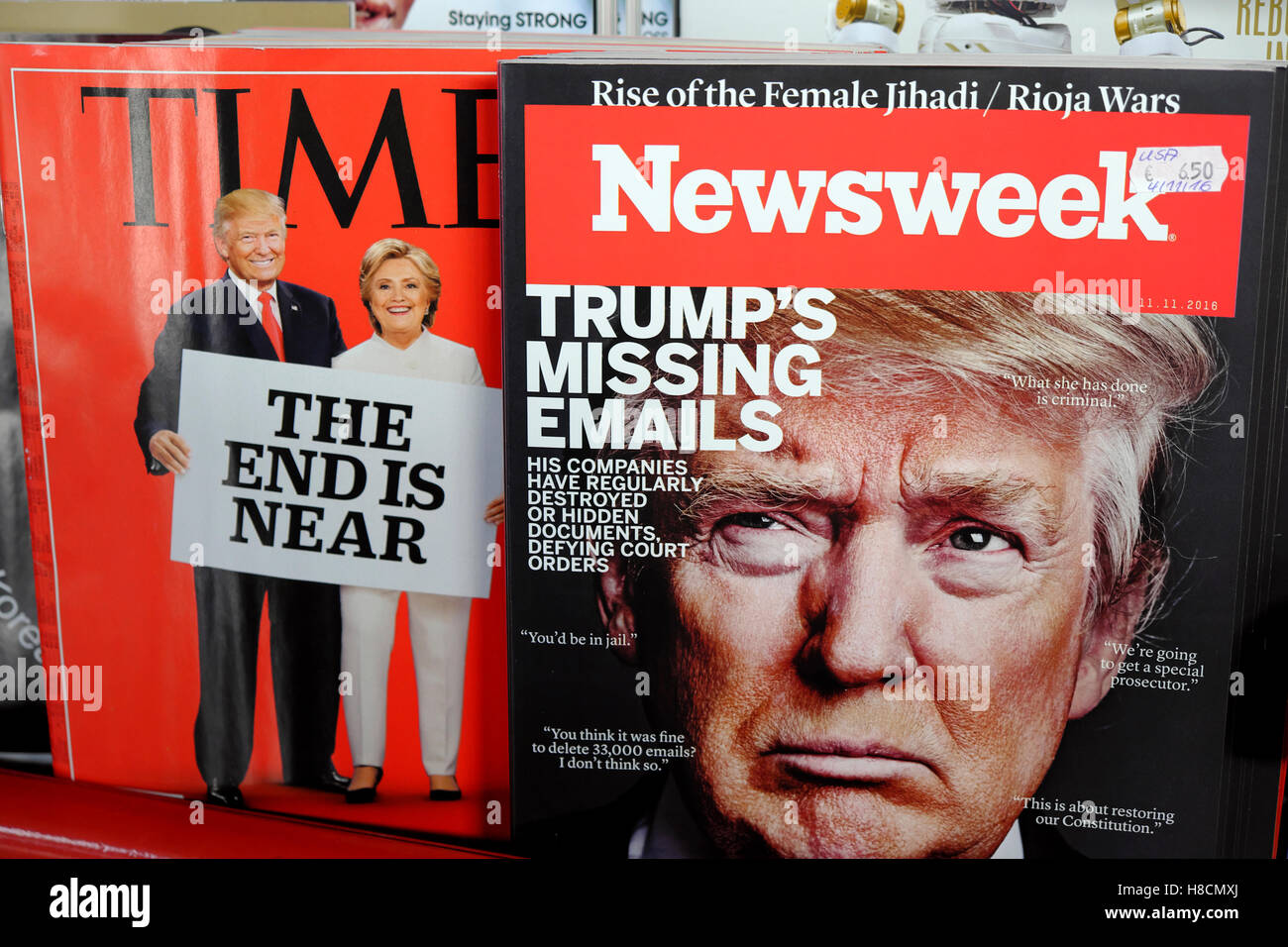 Time and Newsweek magazines front covers at newsagent Donald Trump  & Hillary Clinton American US election November - Stock Image