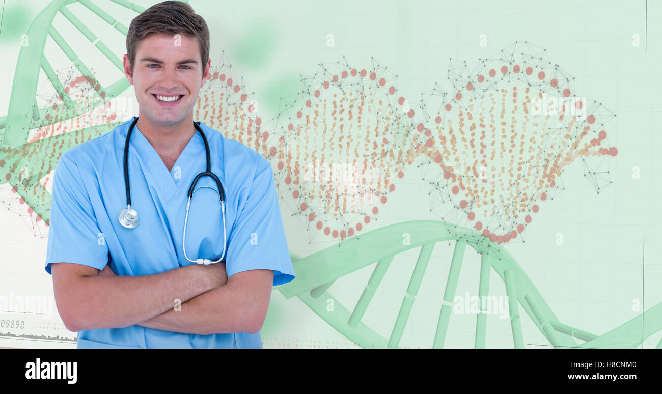 Composite image of young nurse in blue tunic with arms crossed - Stock Image