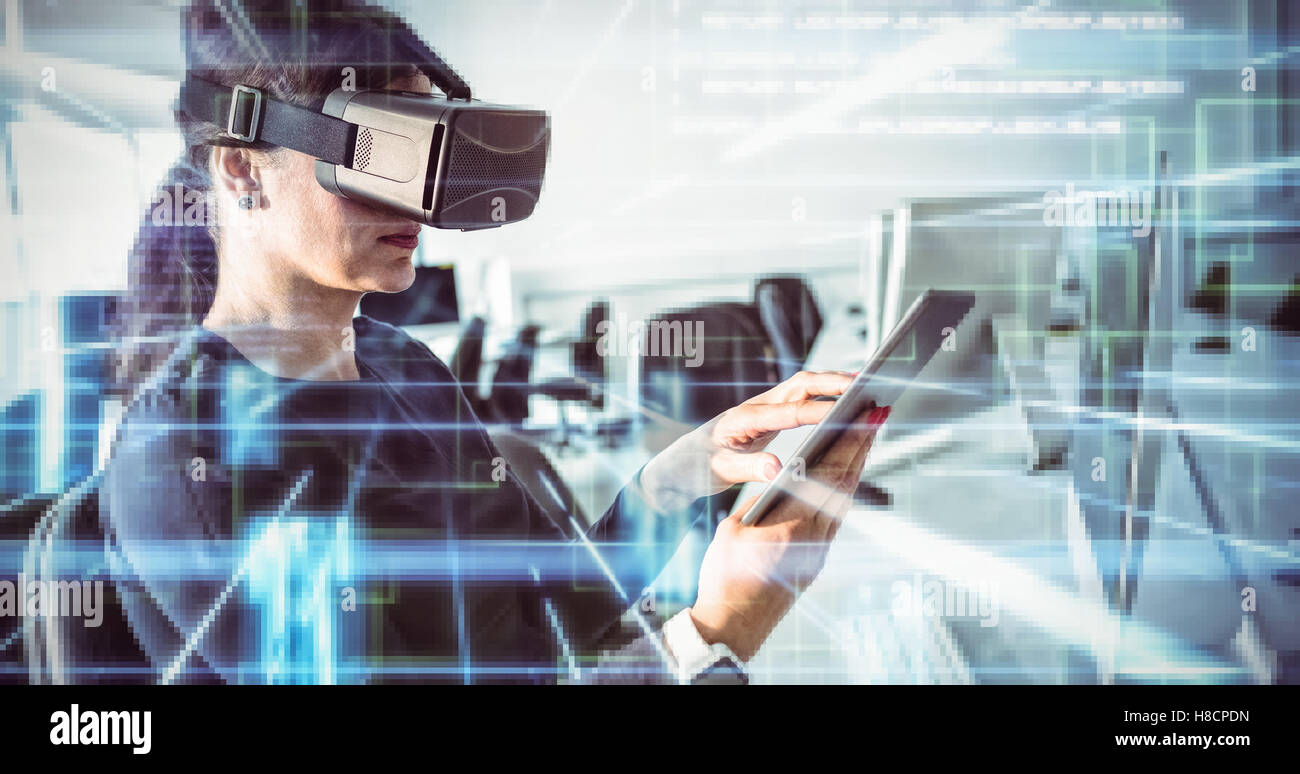 Composite image of blue lines next to screens and text - Stock Image