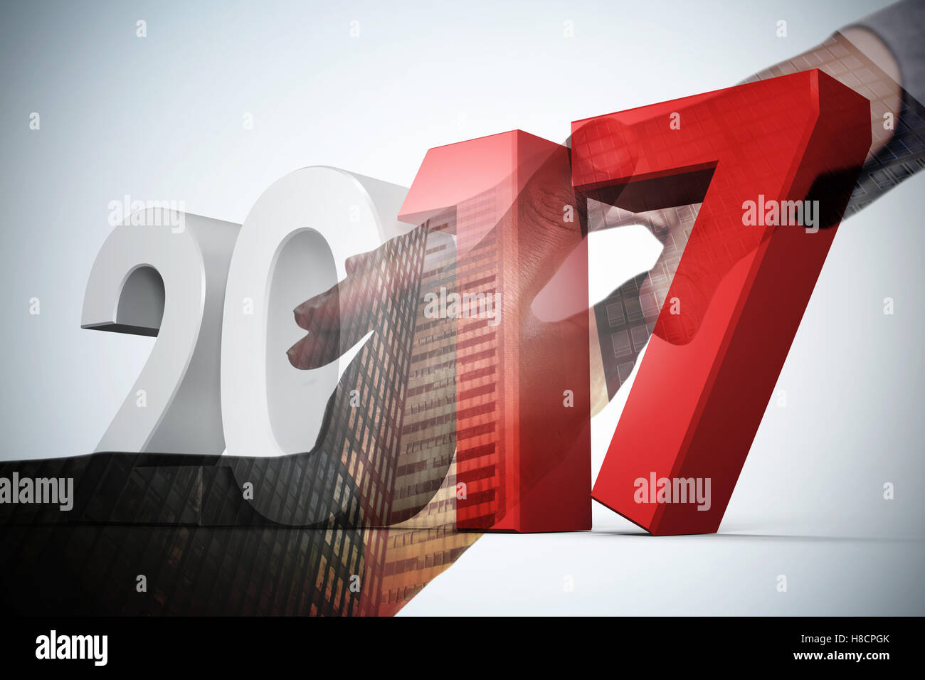 Composite image of digitally generated image of gray and red numbers - Stock Image