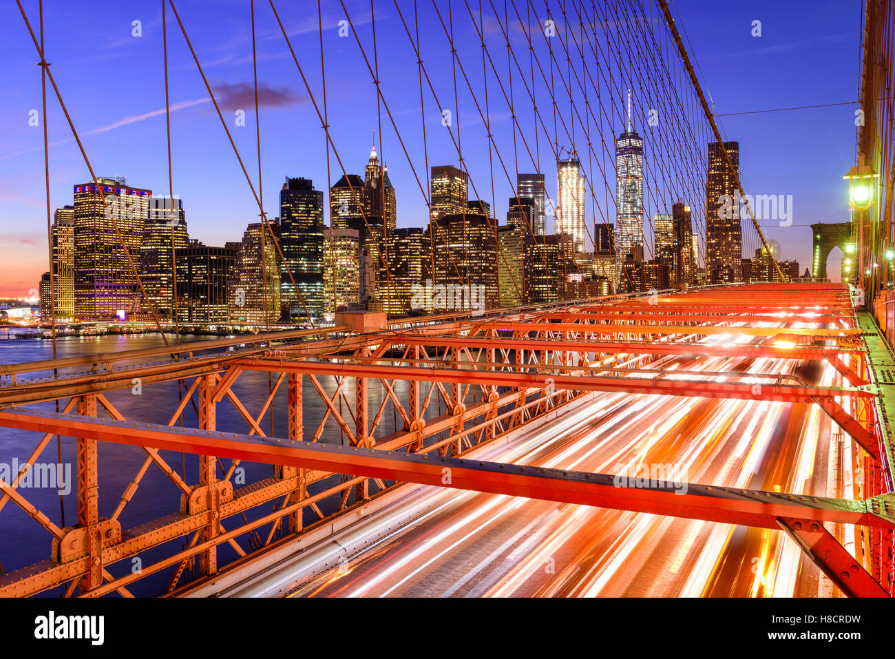 New York City financial district cityscape from the Brooklyn Bridge. - Stock Image