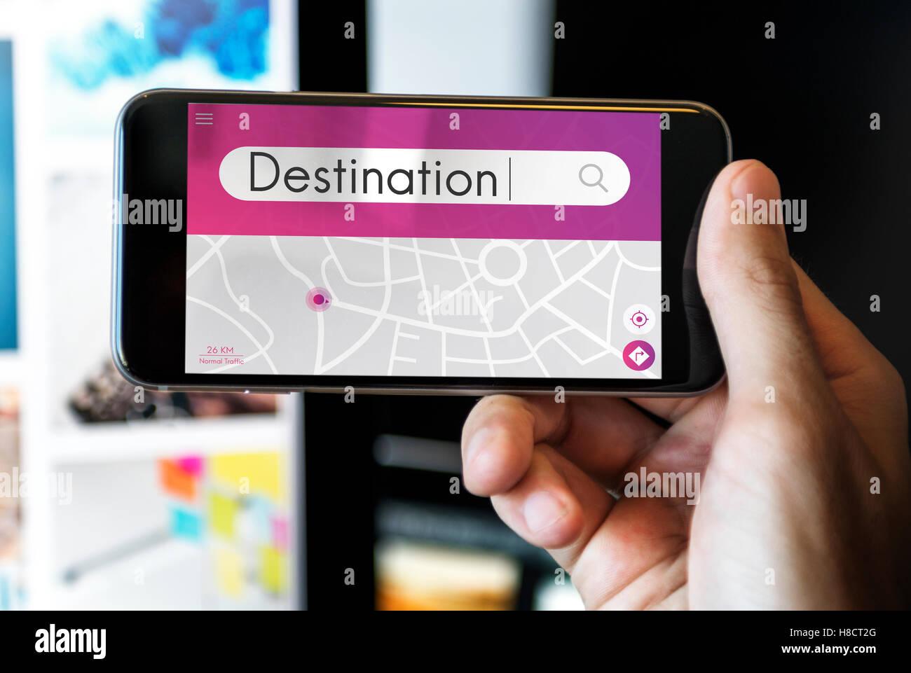 Destination Navigation GPS Map Concept - Stock Image