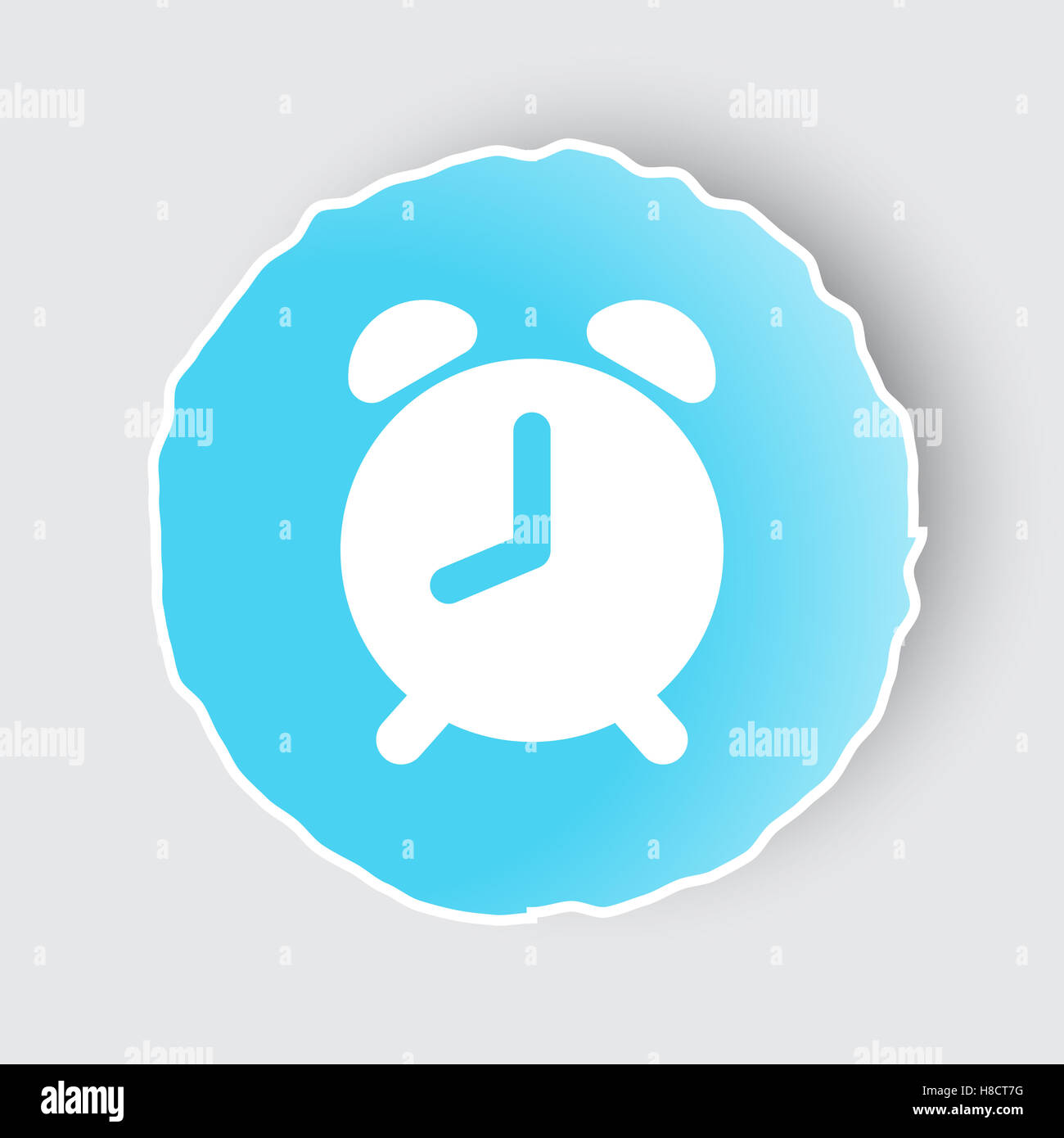 Blue app button with Alarm Clock icon on white Stock Photo