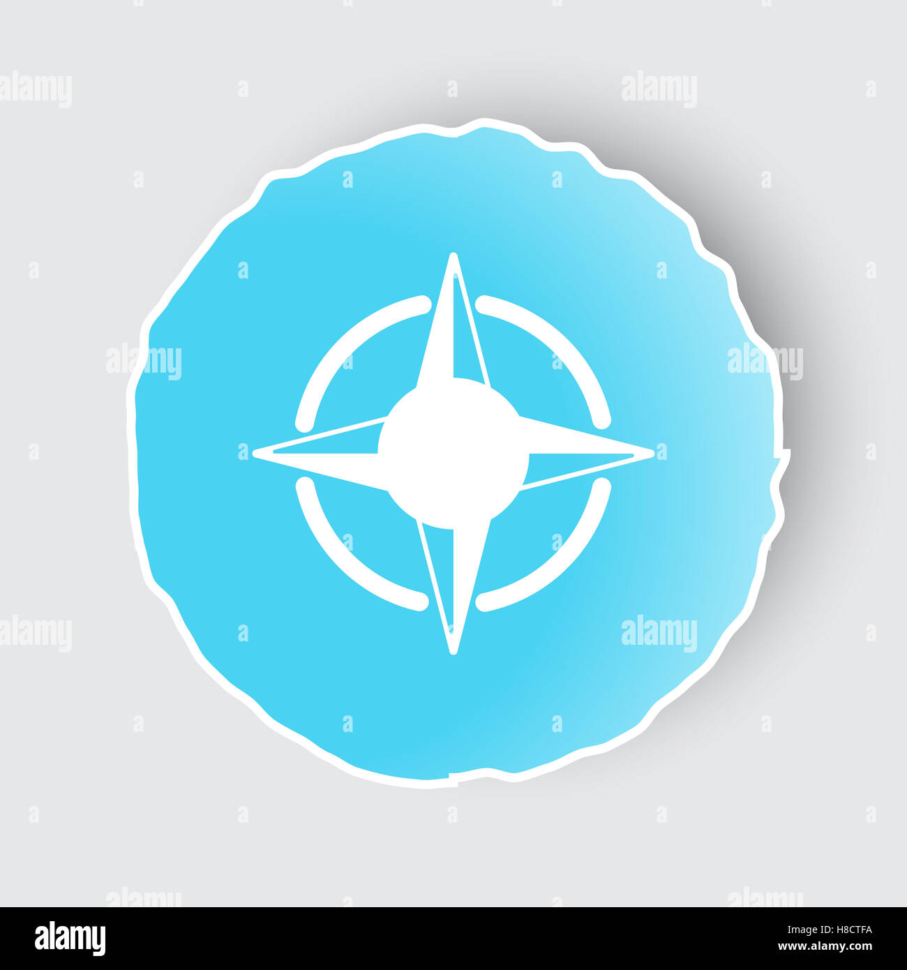 Blue app button with compass rose icon on white stock photo blue app button with compass rose icon on white ccuart Images