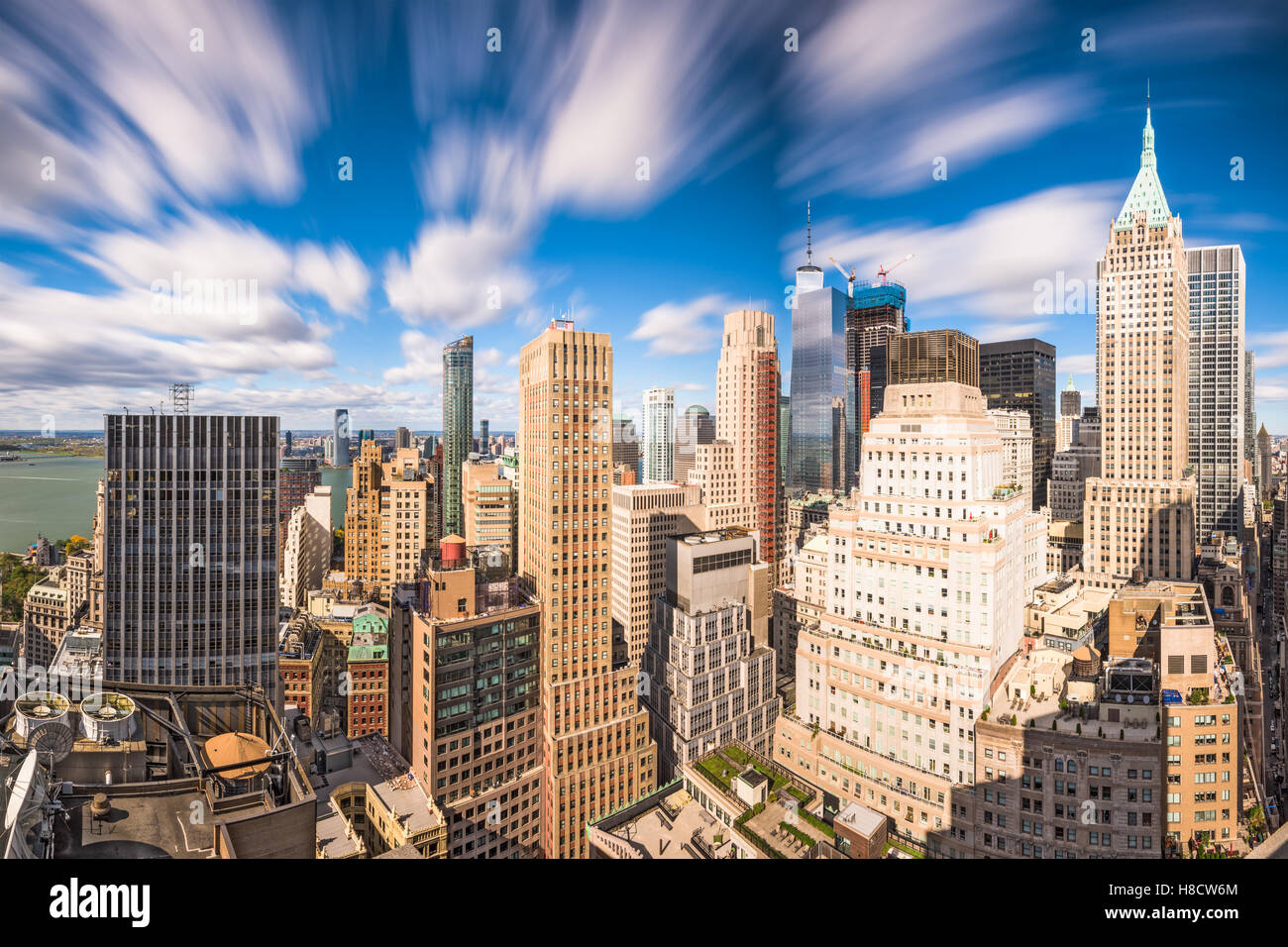 New York City Financial District cityscape at dusk. - Stock Image