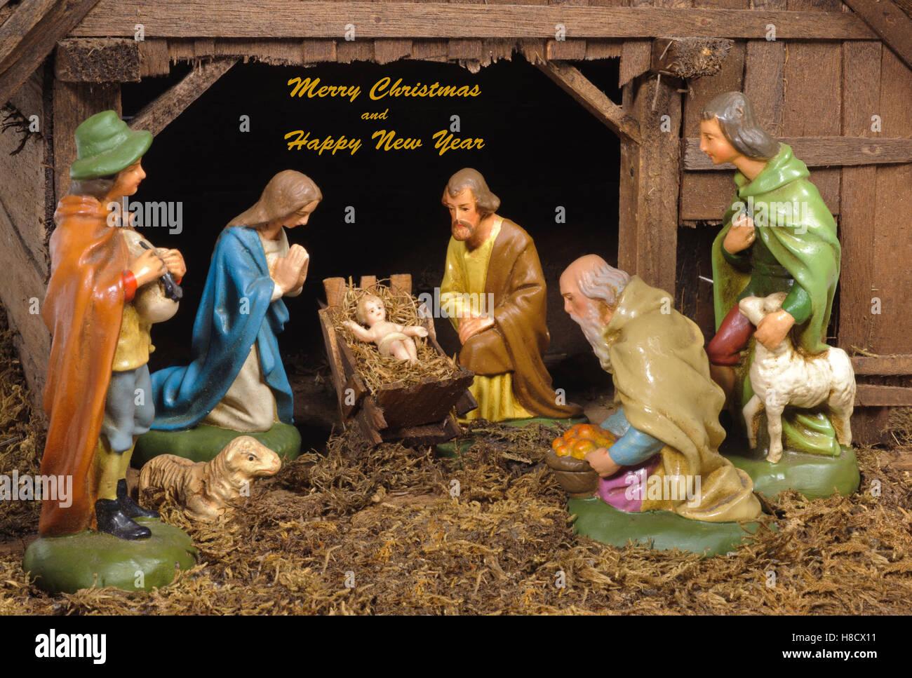 xmas crib and nativity scene Stock Photo
