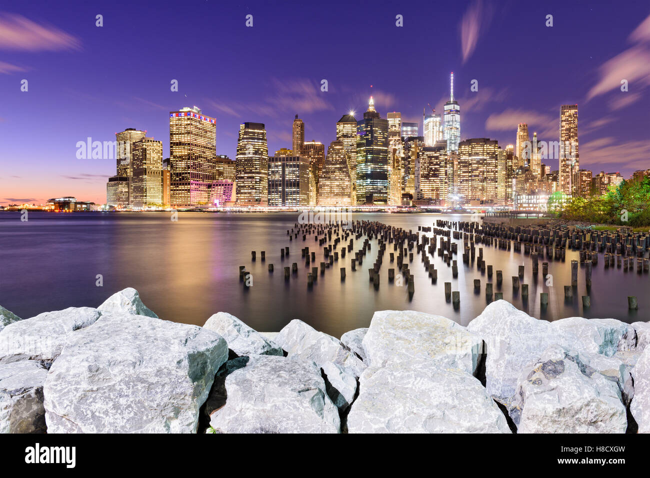 New York City downtown skyline on the East River. - Stock Image