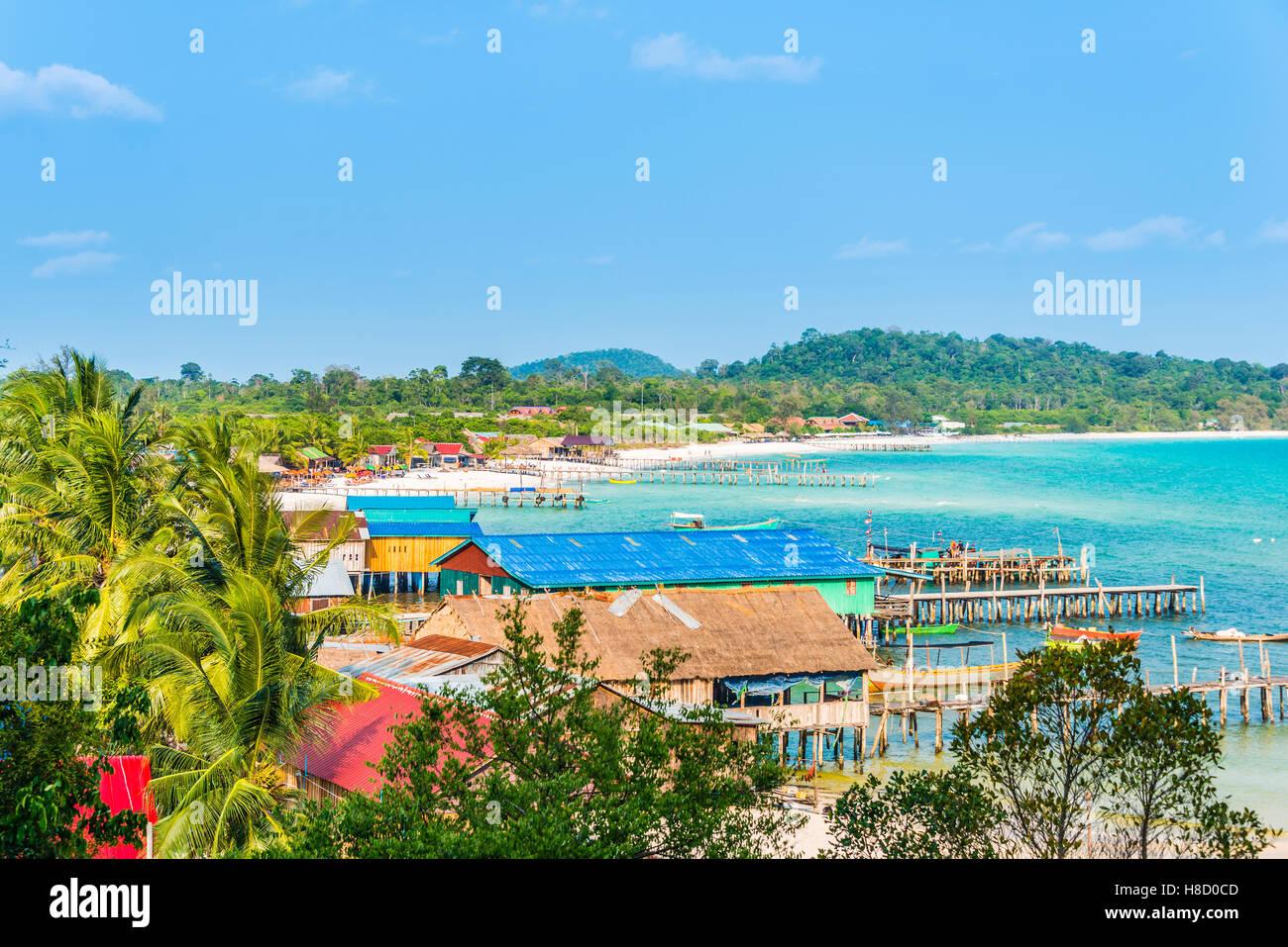 View of buildings and piers of Long Beach, Sok San Village, Koh Rong Island, Krong Preah Sihanouk, Sihanoukville, - Stock Image