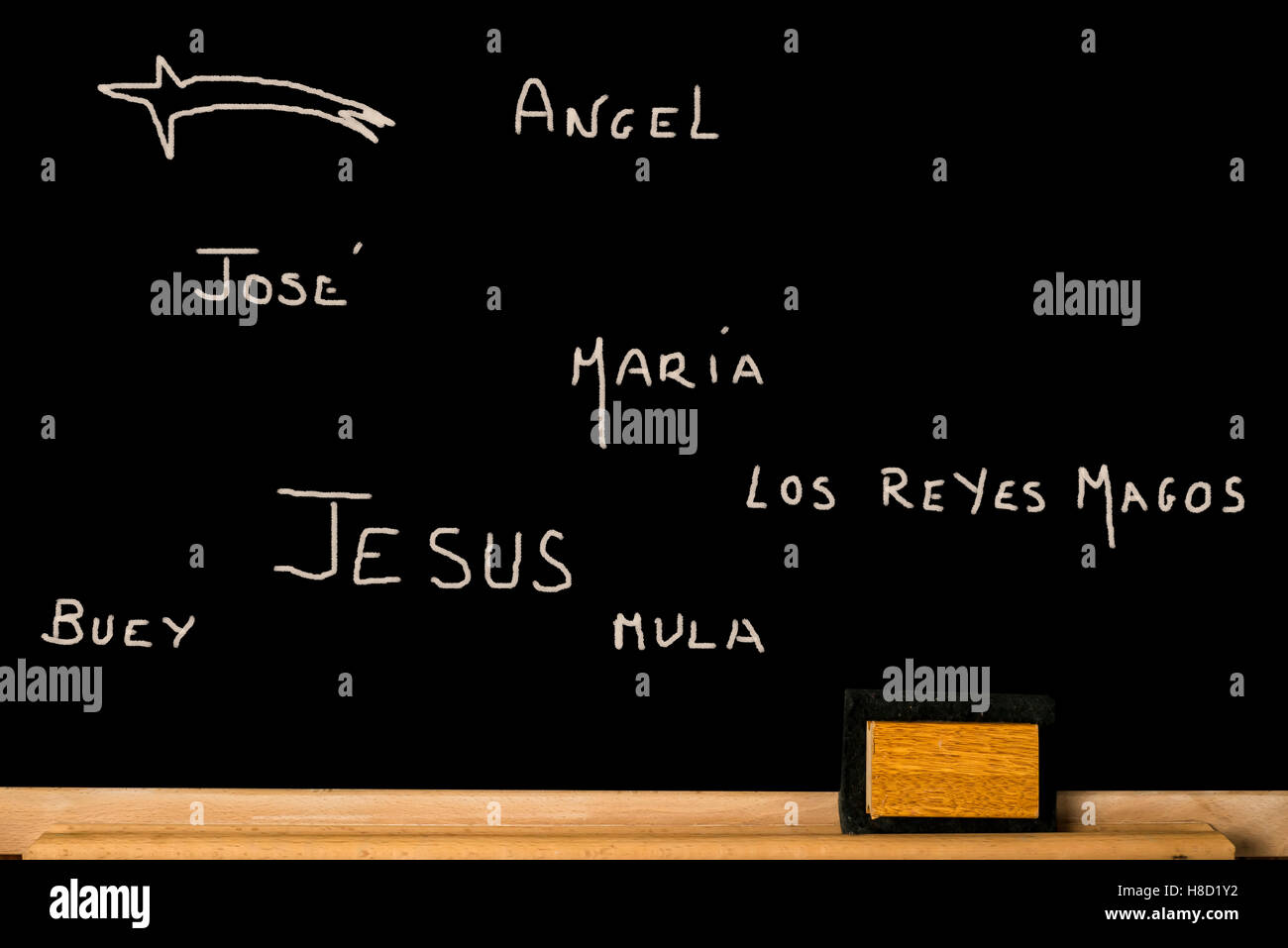 Concept Christmas card, names written on a blackboard of the components of Nativity scene in spanish language, Jesus, - Stock Image