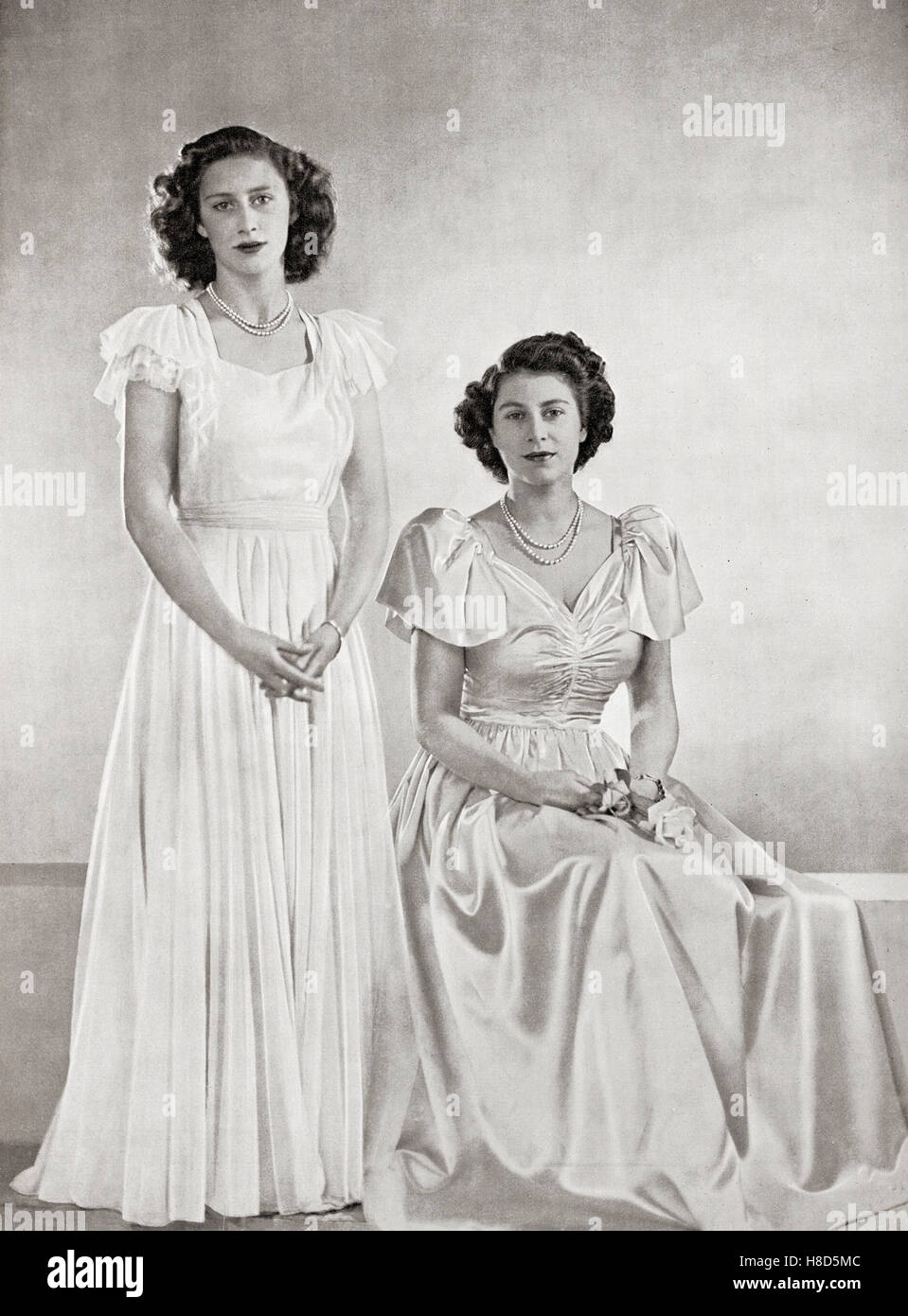 Princess Margaret Left And Princess Elizabeth Future Queen