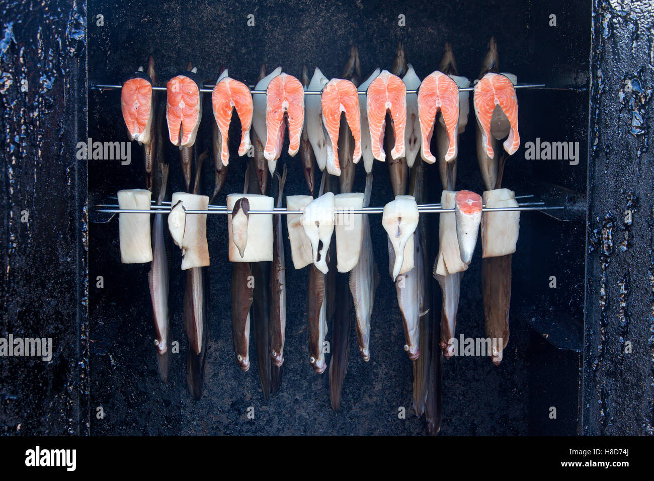 Plaice (Pleuronectes platessa) and other seafish being smoked in fish smoker - Stock Image
