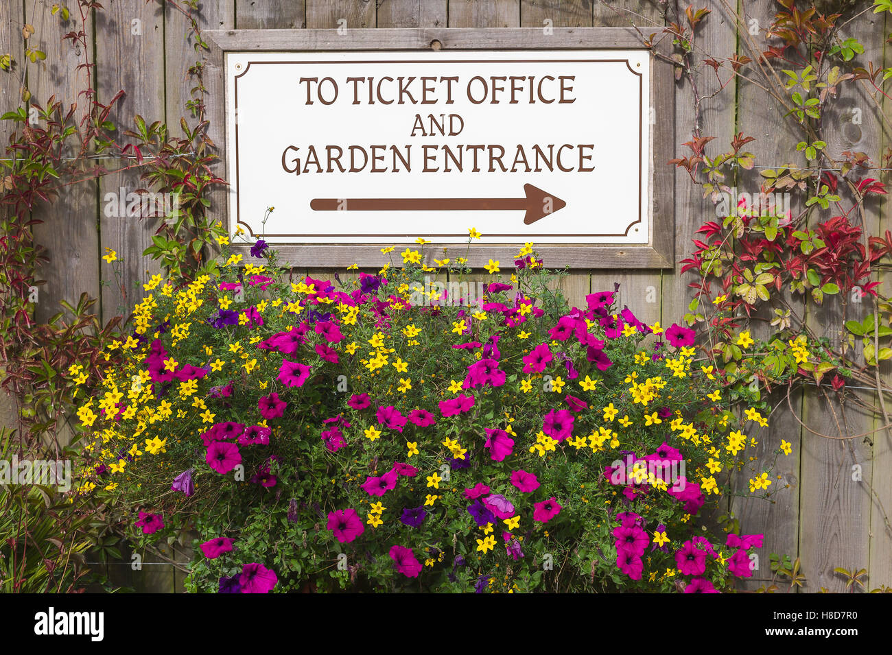 Floral wall with notice showing direction to Heligan gardens and entry point - Stock Image