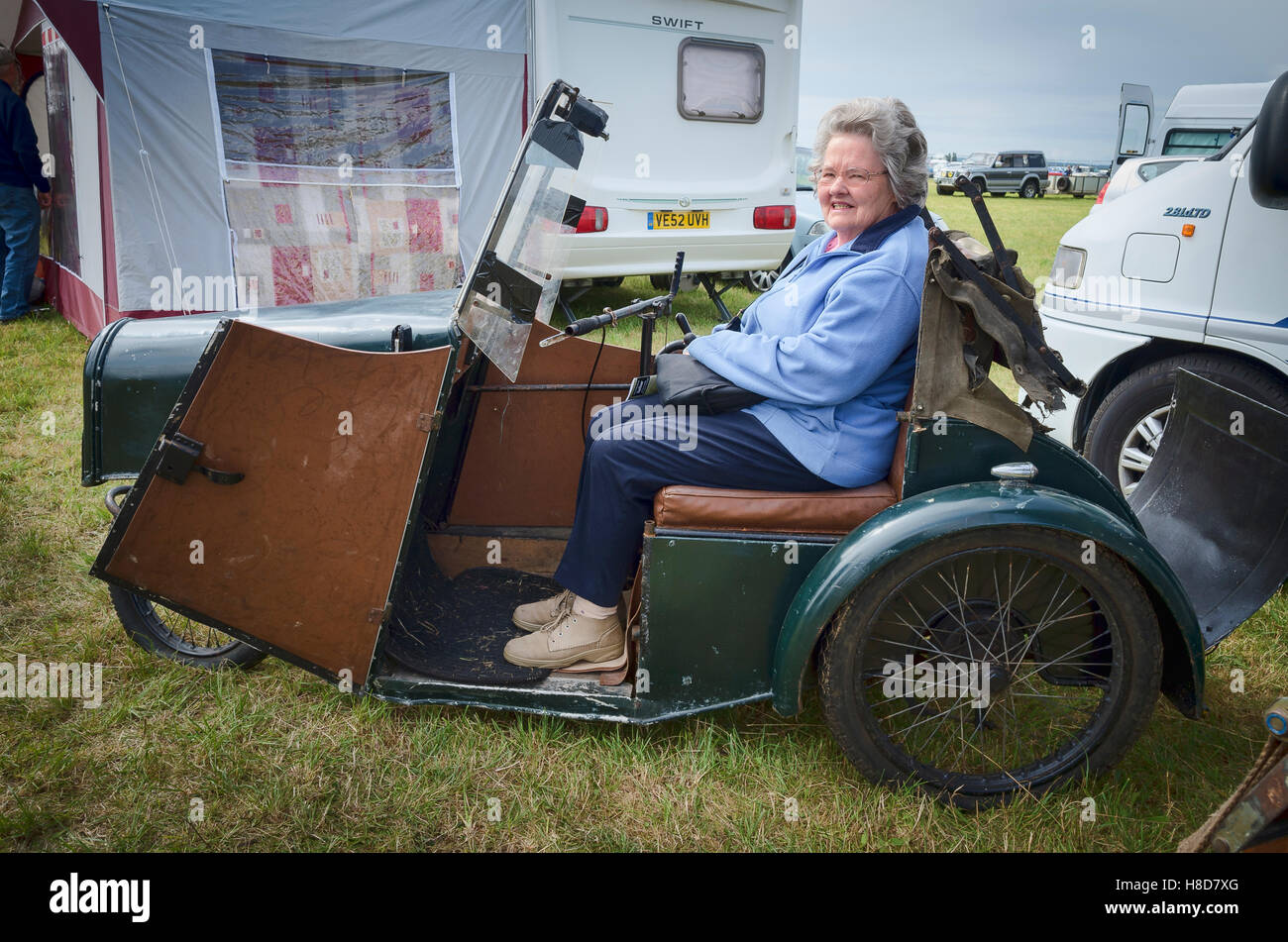 A Rare Harding Powered Invalid Carriage At An English Show With
