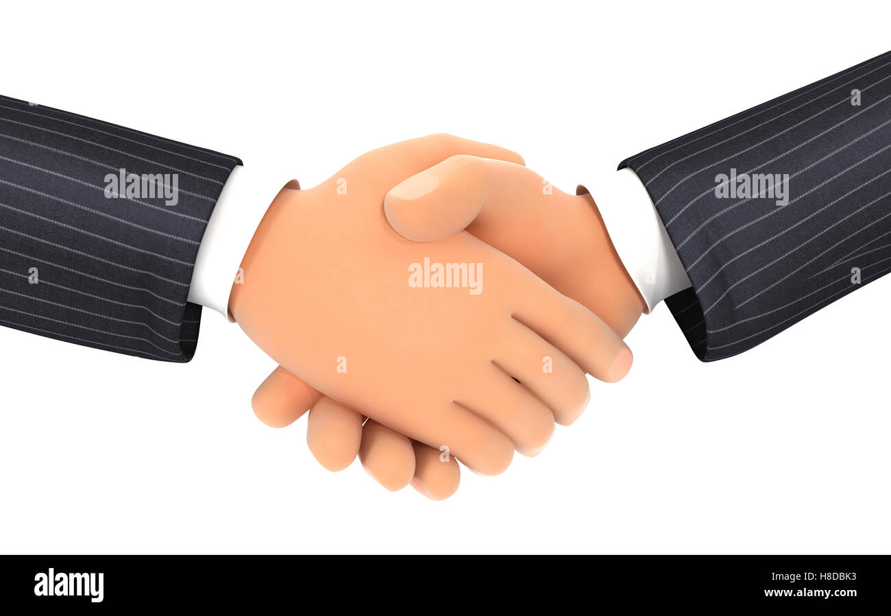 3d close up of business handshake, illustration with isolated white background Stock Photo