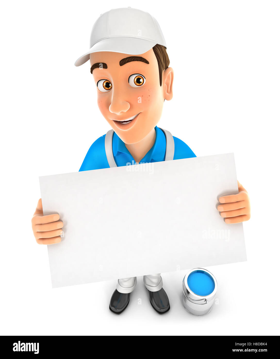 3d painter holding a billboard, illustration with isolated white background Stock Photo