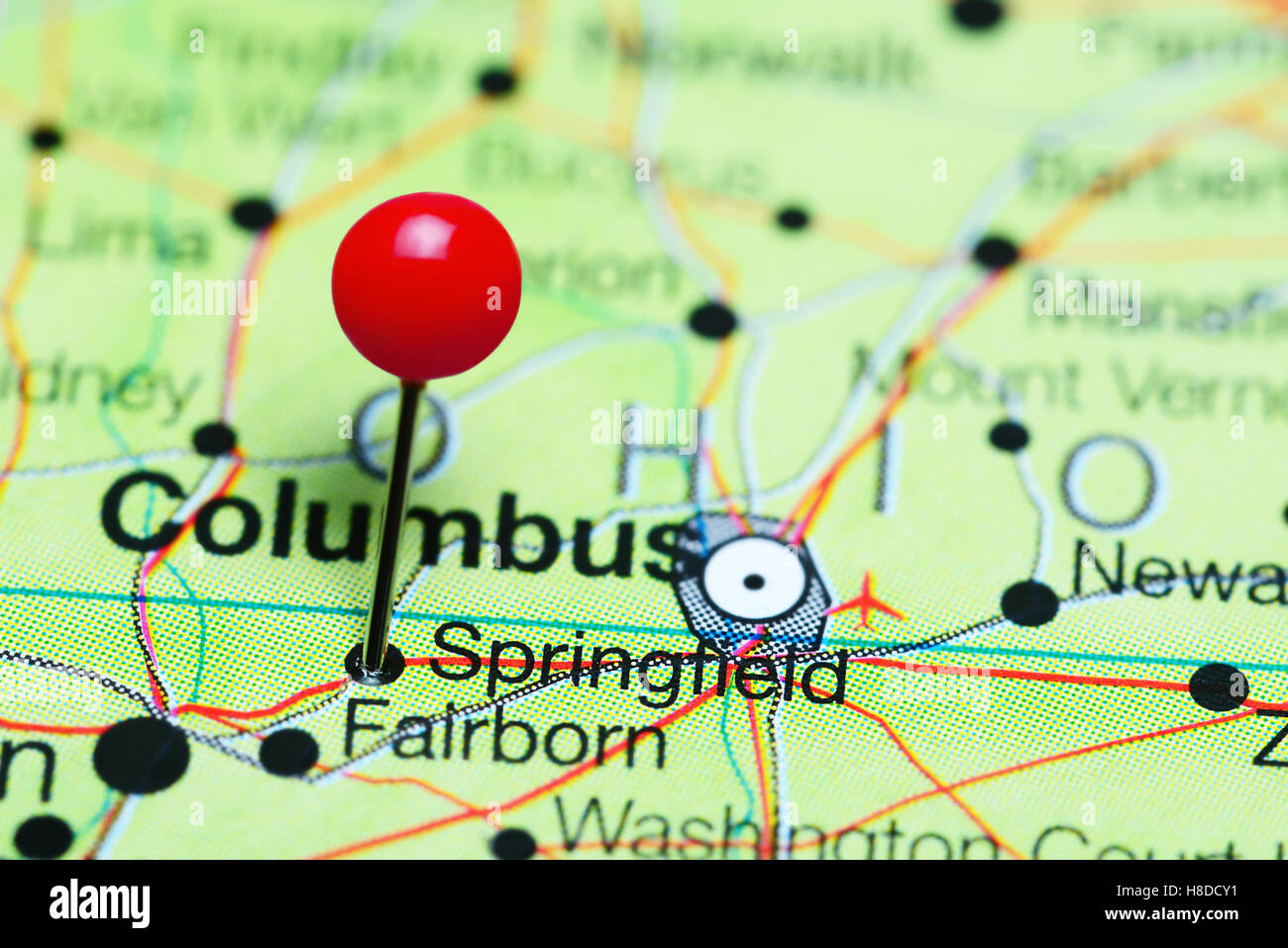 Springfield Usa Map.Springfield Pinned On A Map Of Ohio Usa Stock Photo 125685365 Alamy