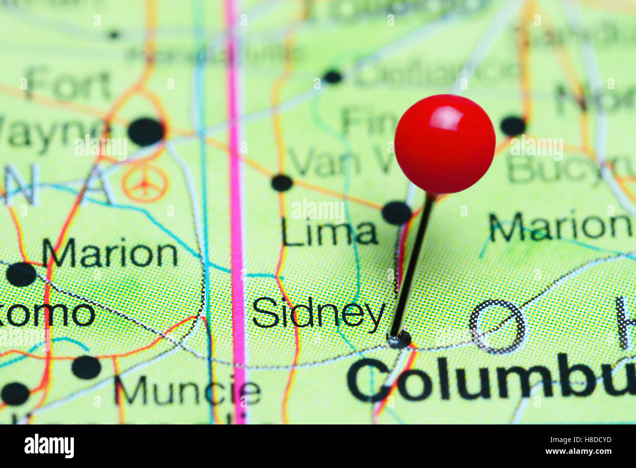 Sidney Pinned On A Map Of Ohio Usa Stock Photo 125685377 Alamy