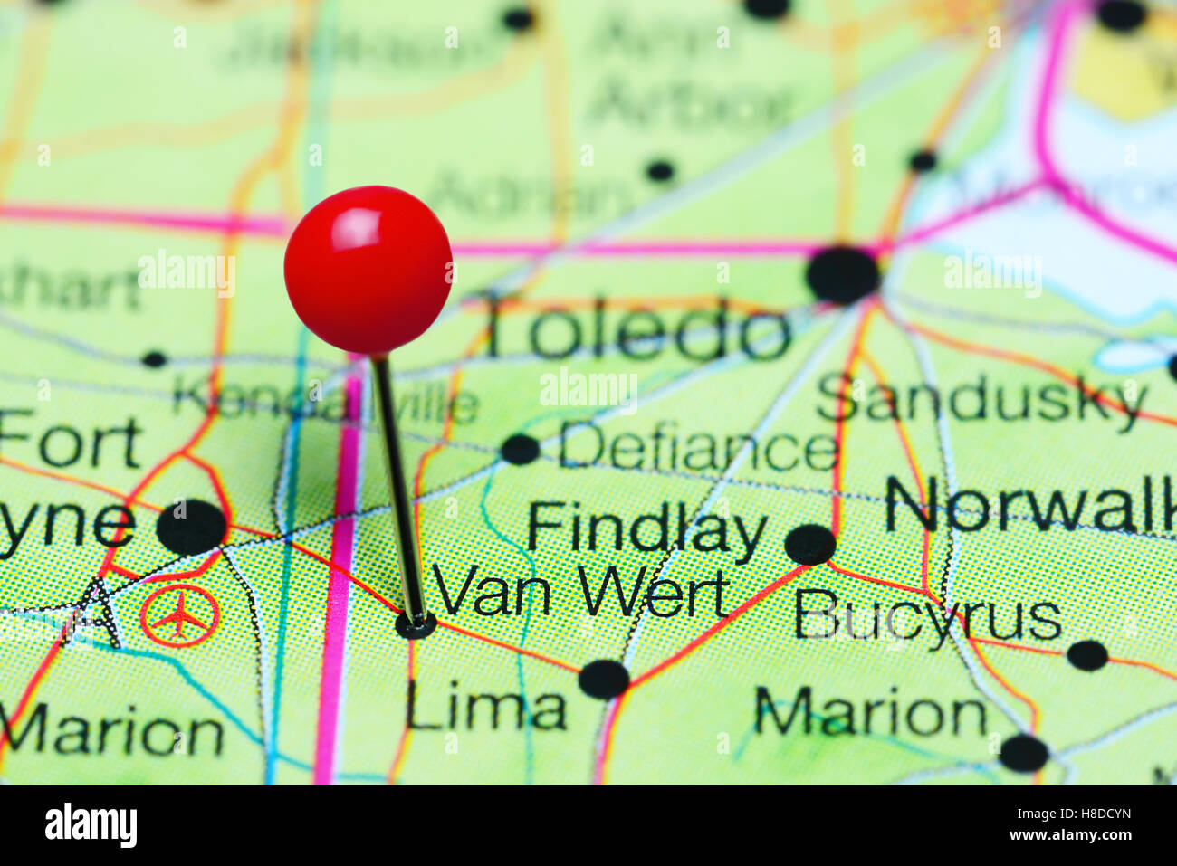 Van Wert Pinned On A Map Of Ohio Usa Stock Photo 125685385 Alamy