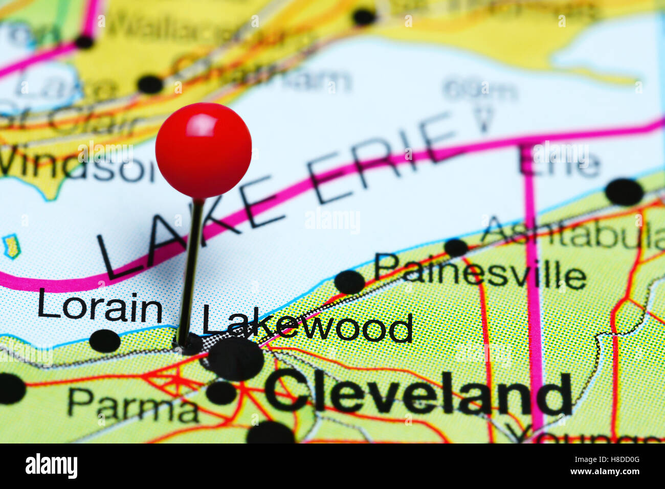 Lakewood pinned on a map of Ohio, USA - Stock Image