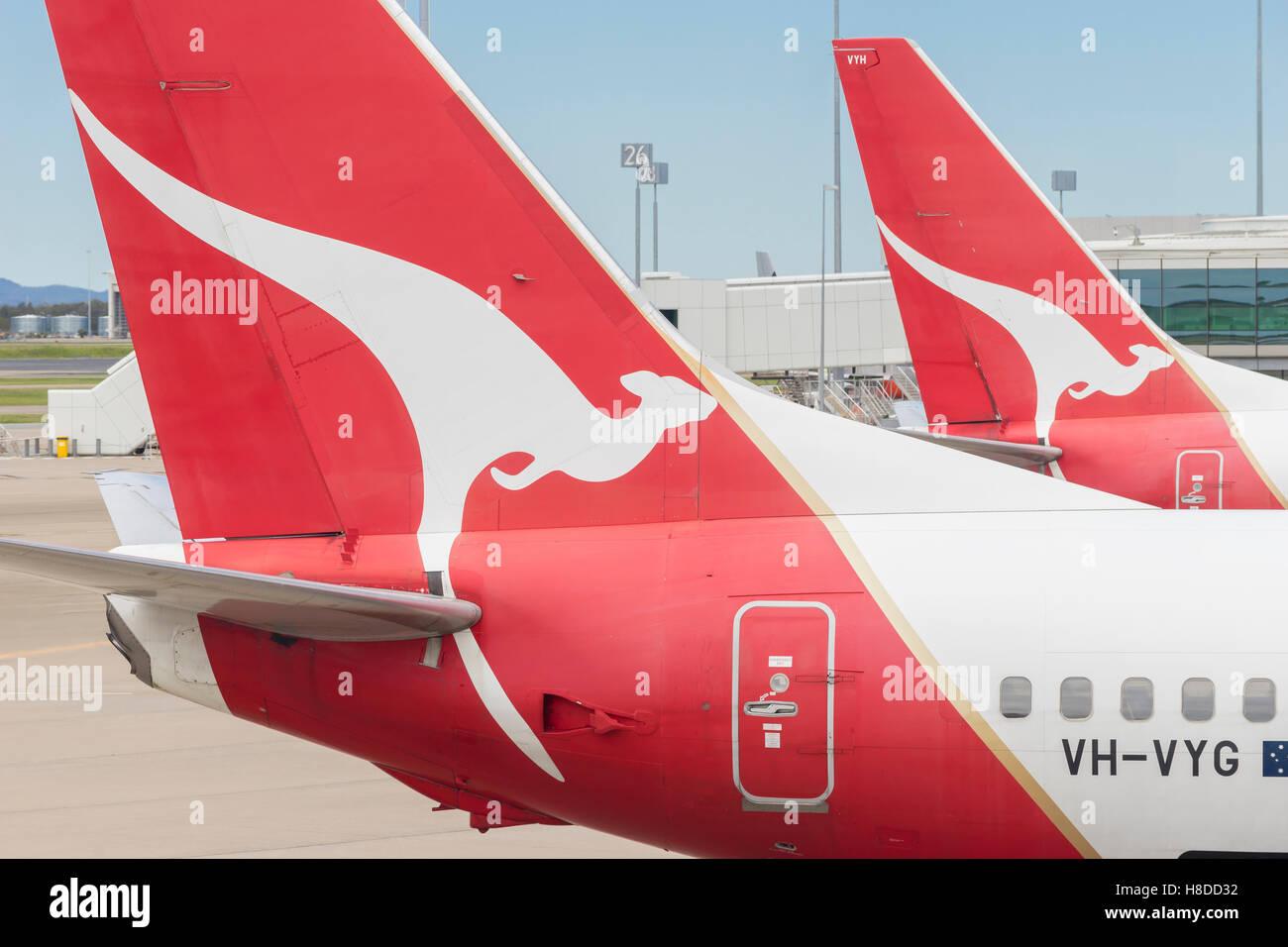 Close-up of Qantas aircraft at Brisbane Airport - Stock Image
