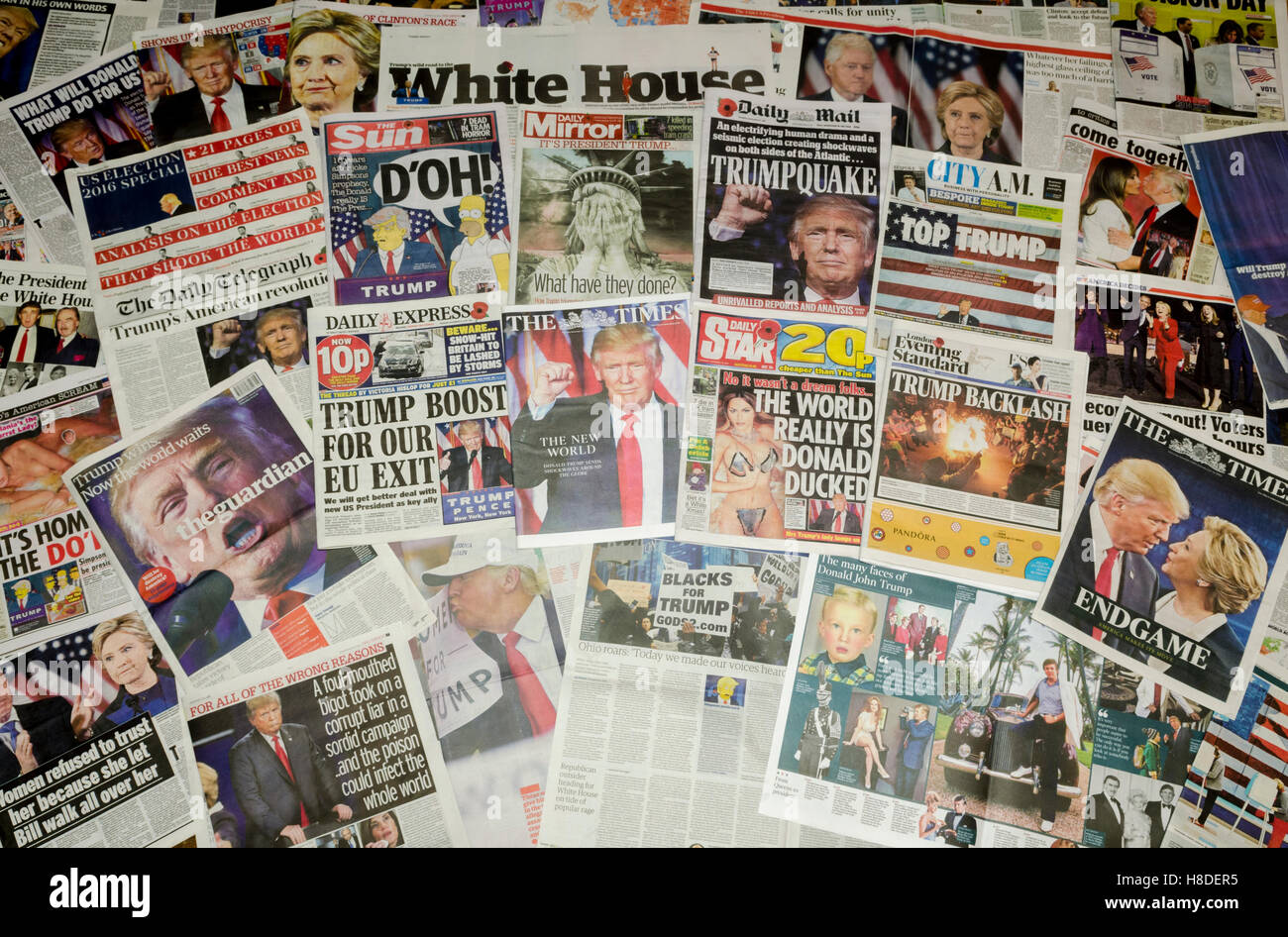 British newspaper front pages reporting on the US presidential election result in which Donald Trump became the - Stock Image
