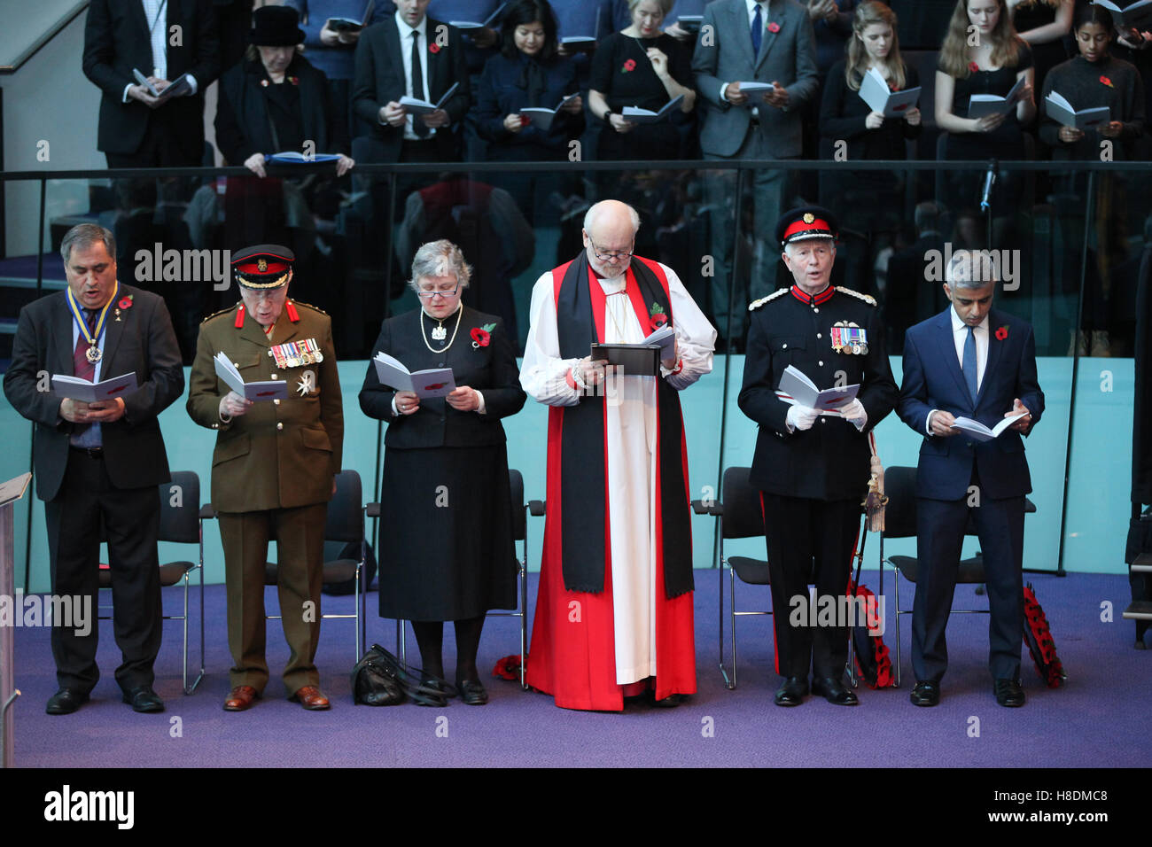 City Hall, London 11 Nov 2016 Sadiq Khan, Sub-Dean of Southwark Cathedral, The Revd Canon Michael Rawson,Wing Commander - Stock Image