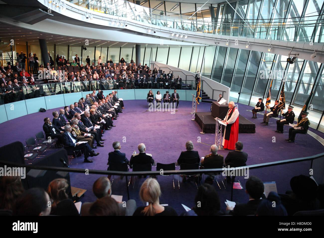 City Hall, London 11 Nov 2016 The Mayor of London, Sadiq Khan, Chairman of the London Assembly, Tony Arbour, London - Stock Image