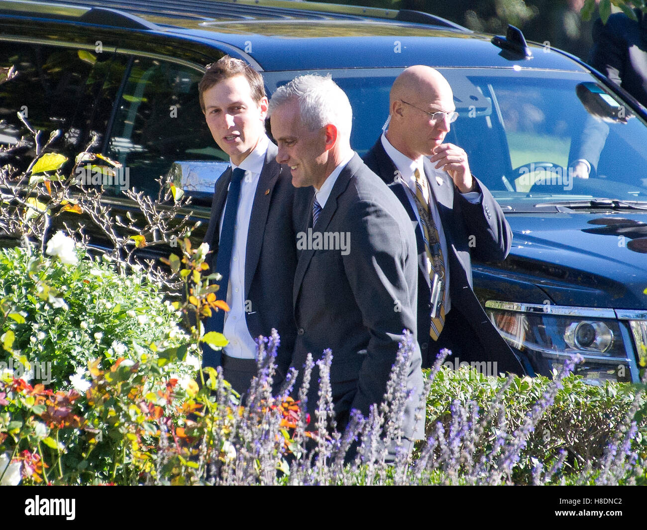 Washington, Us. 10th Nov, 2016. Jared Kushner and White House Chief of Staff Denis McDonough walk through the Rose Stock Photo