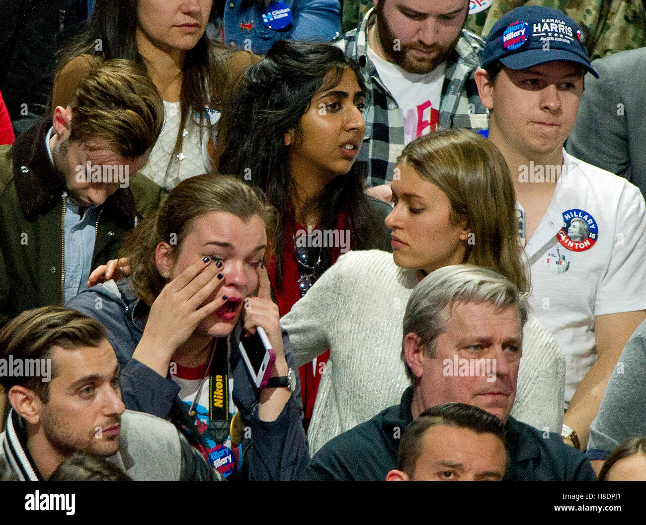 New York, Us. 09th Nov, 2016. Hillary Clinton supporters are tearful as North Carolina is called for Donald Trump - Stock Image