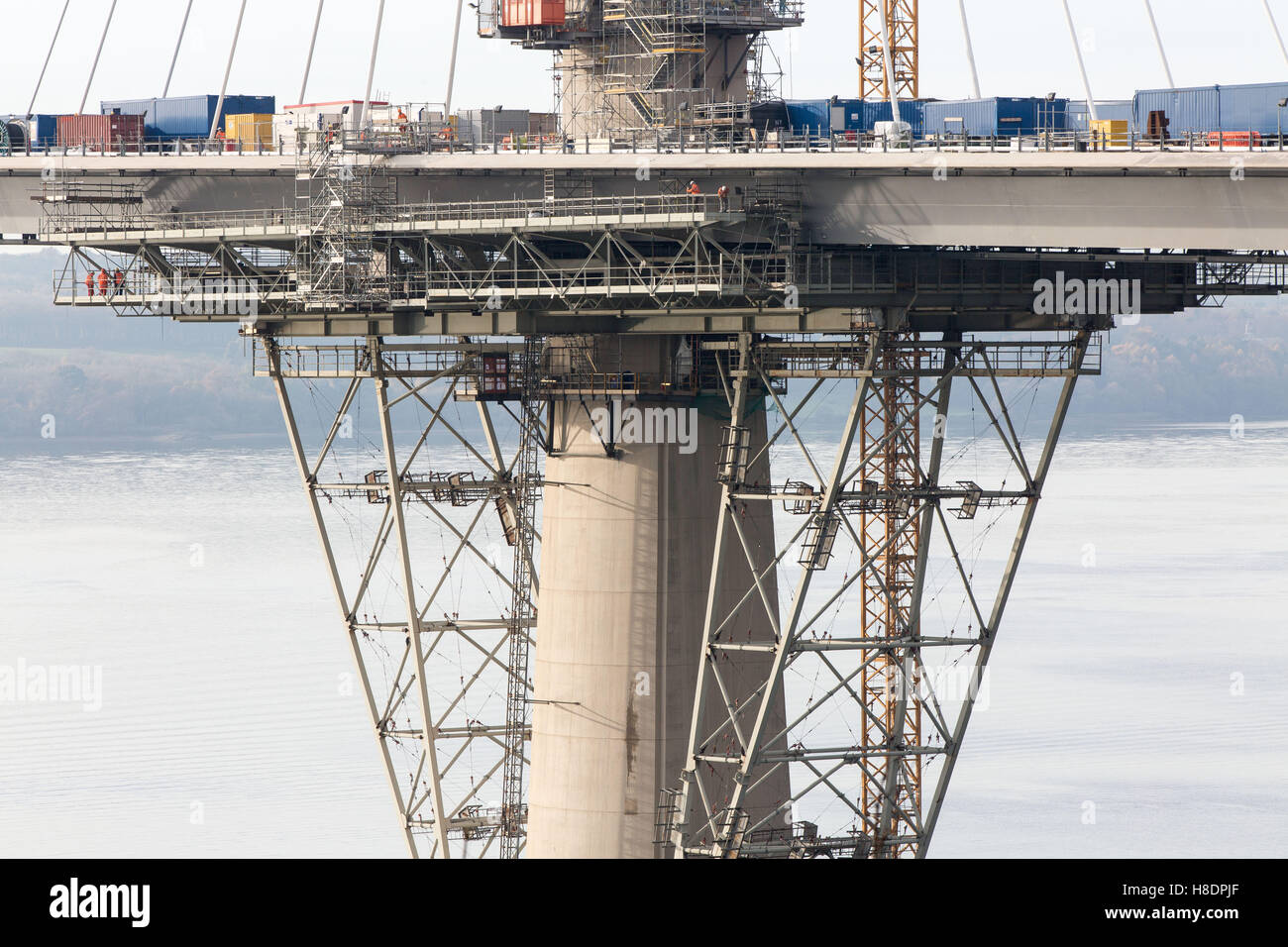 Queensferry, Edinburgh, Scotland, 11th, November, 2016. Forth Bridges.  The 2nd Road bridge is nearing completion and this photo show construction work and assemblies of the northern pier and pontoon.  Phil Hutchinson/Alamy Live News Stock Photo