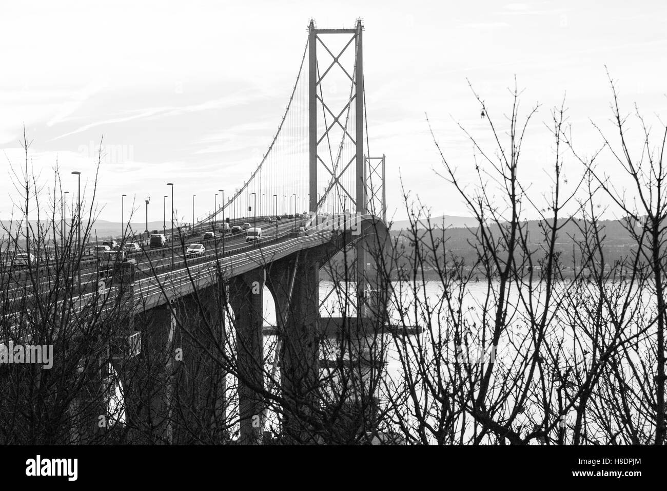 Queensferry, Edinburgh, Scotland, 11th, November, 2016. Forth Bridges.    The existing Forth Road bridge is still taking traffic while the second Road Bridge is nearing completion.  Phil Hutchinson/Alamy Live News Stock Photo