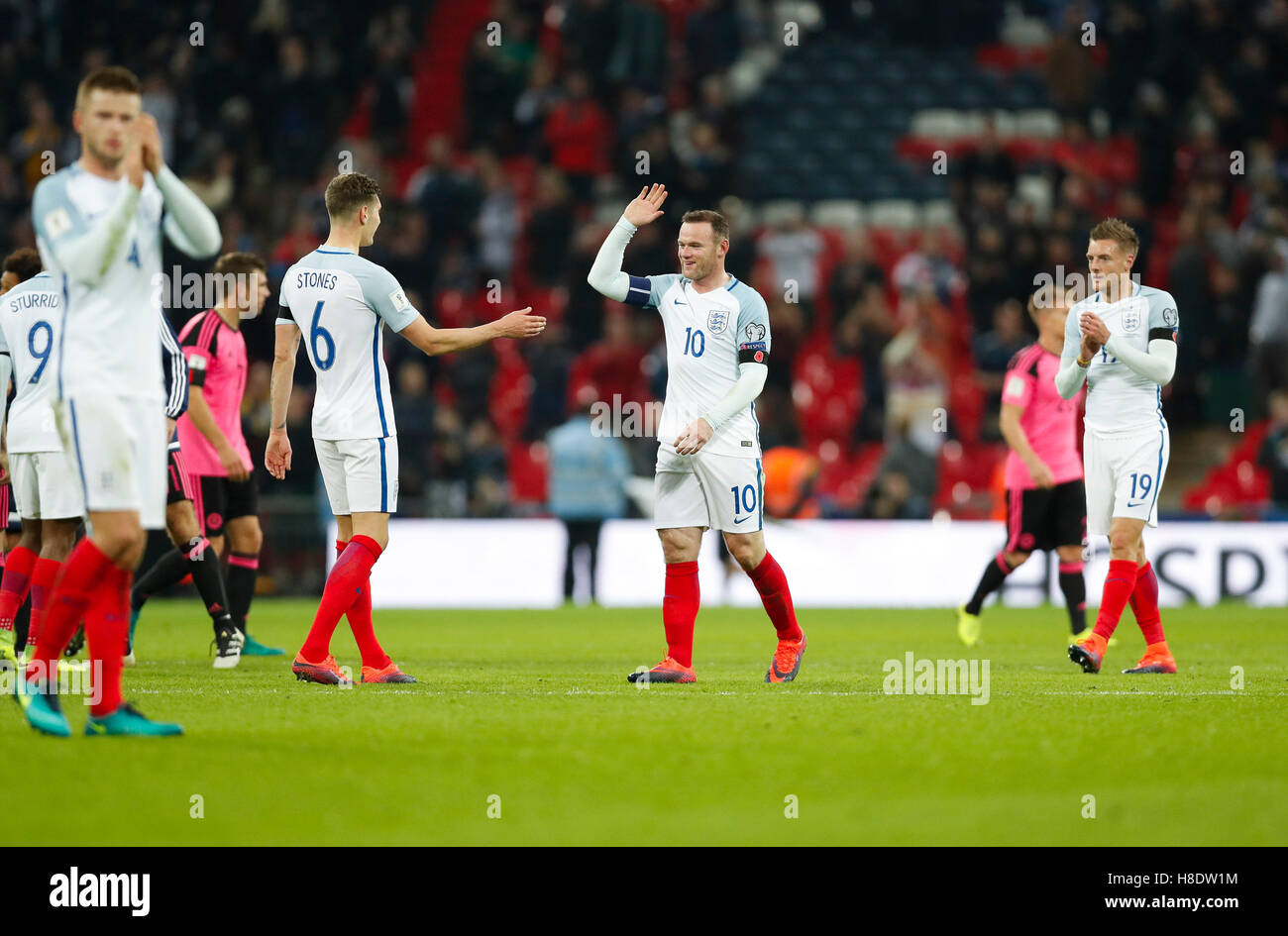 London, UK. 11th Nov, 2016. Players of England celebrate after the Group F match between England and Scotland at Stock Photo