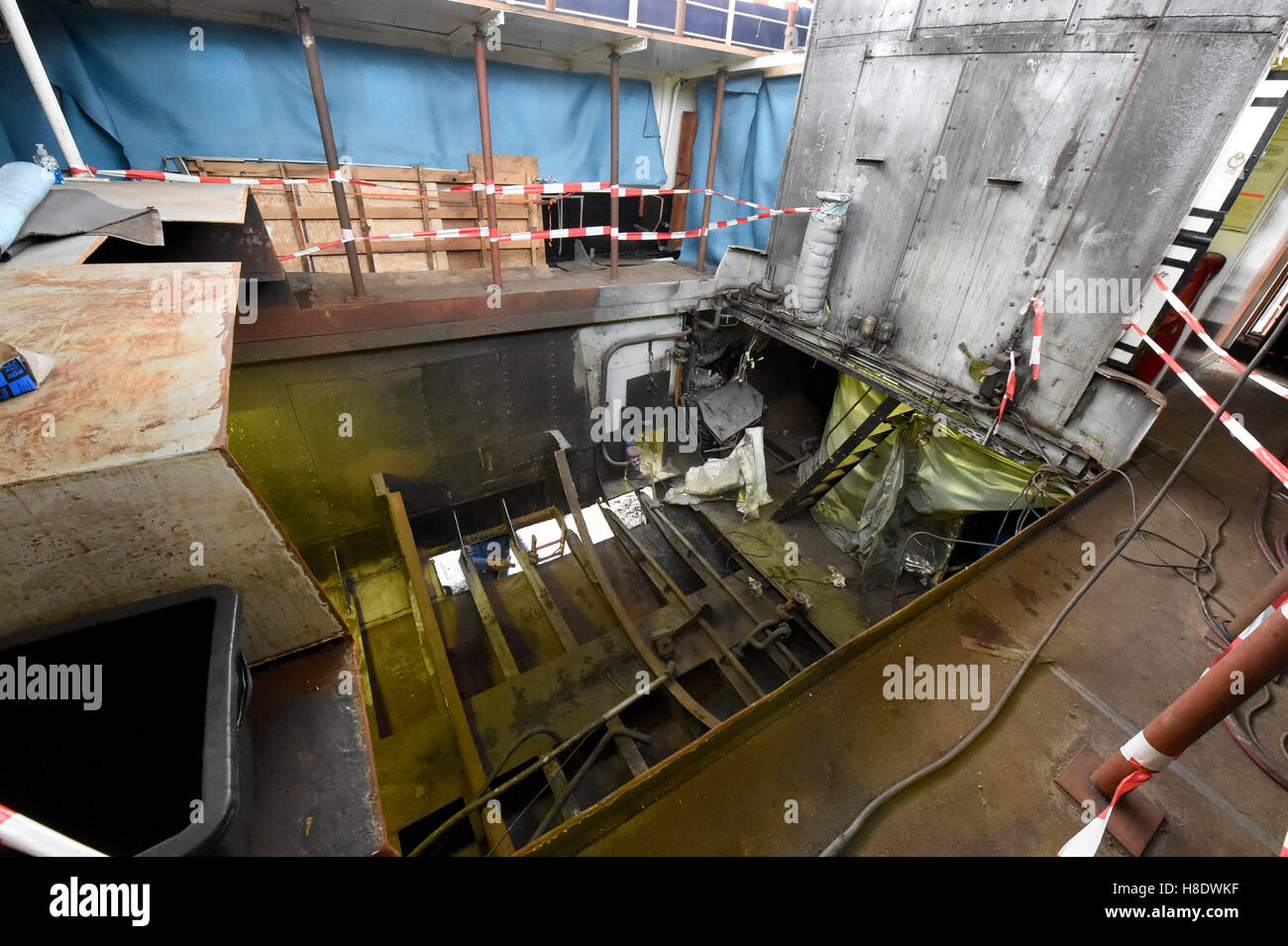 Husum, Germany. 03rd Nov, 2016. The completely gutted boiler room of the museum steamship 'Alexandra' seen - Stock Image