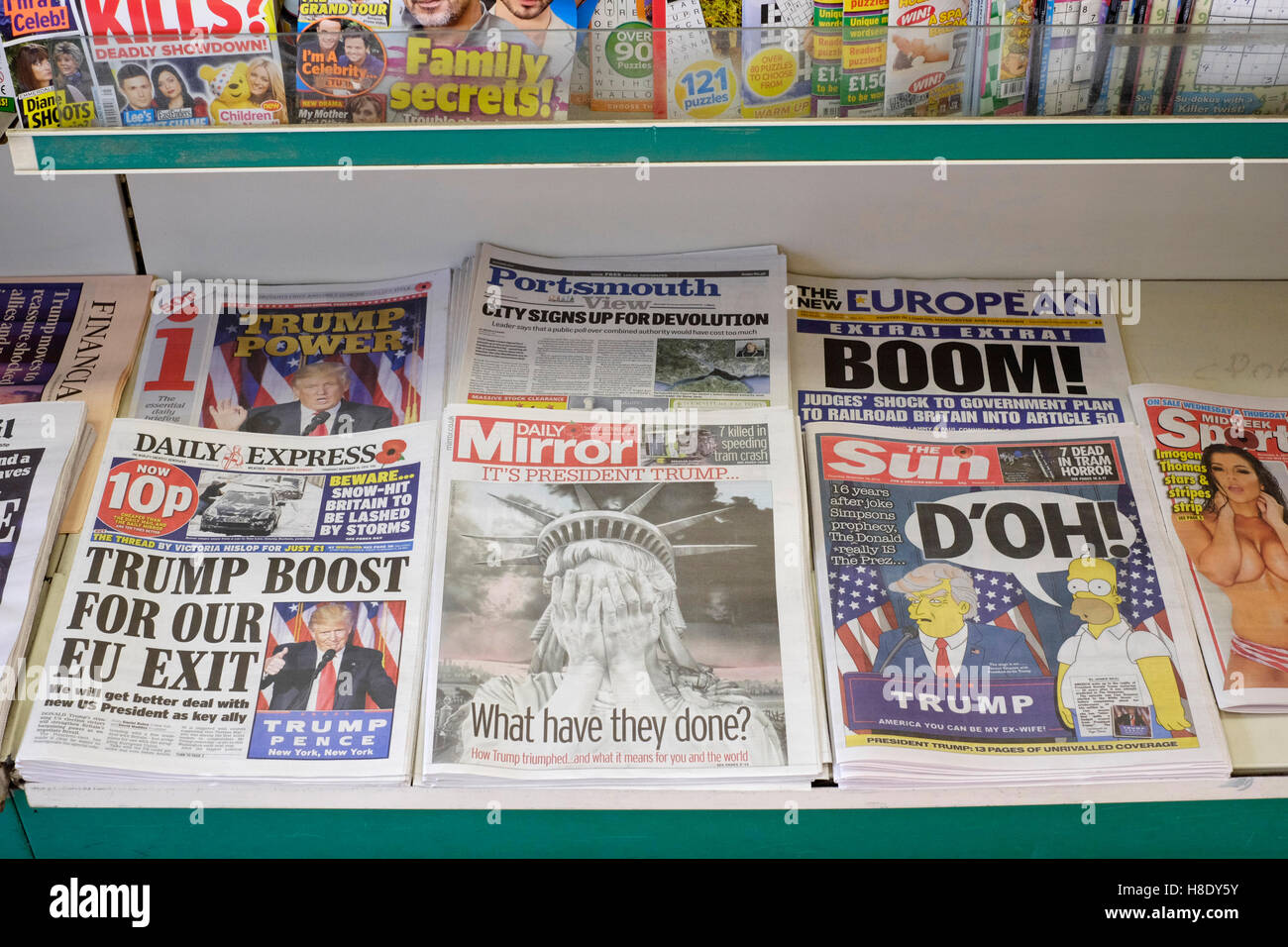 selection of uk newspapers with the headlines leading story of donald trump winning the election in usa - Stock Image