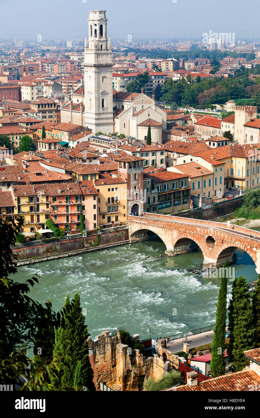 Aerial view of Adige river and Saint Peter bridge in Verona city, Italy Stock Photo