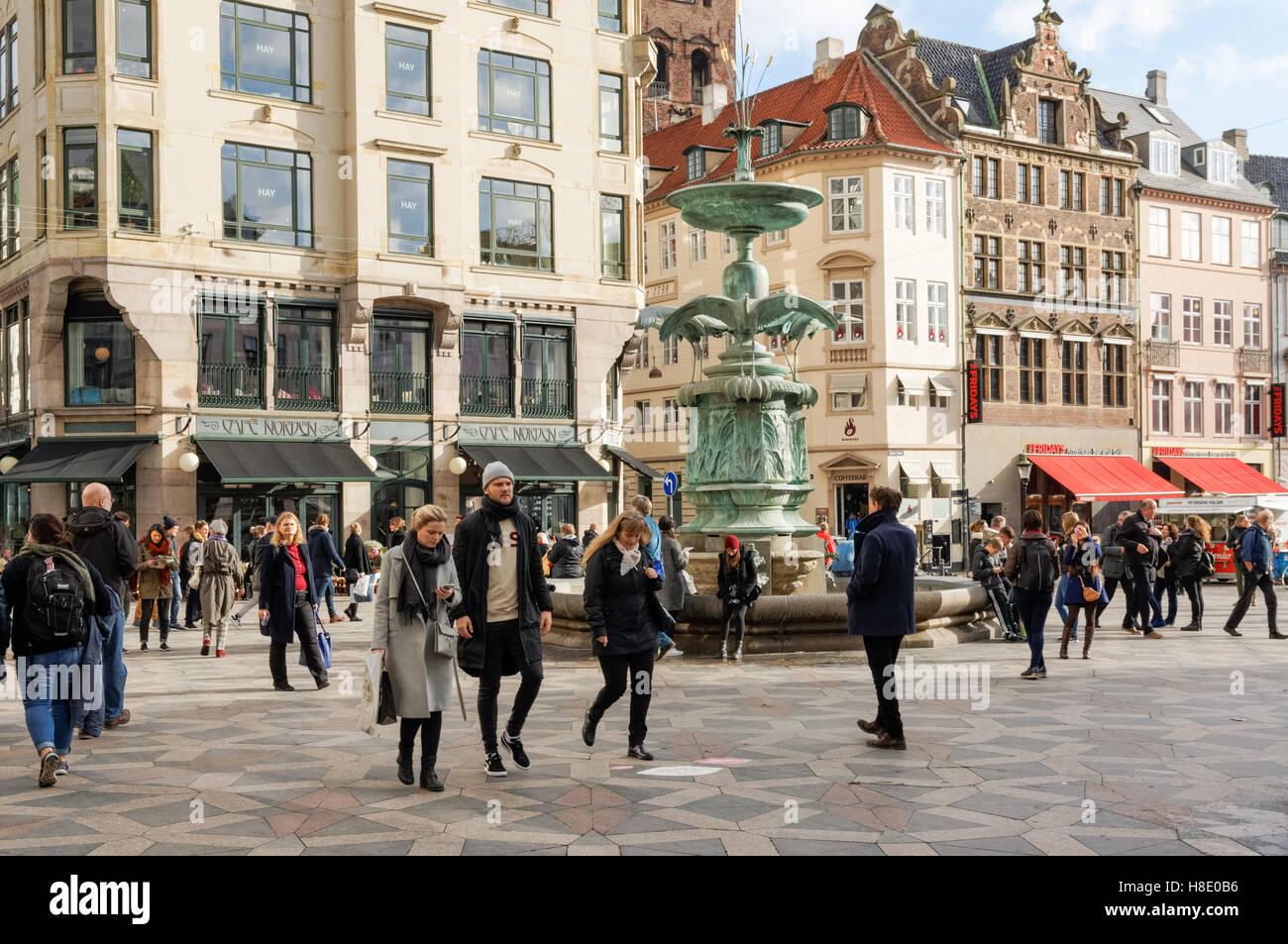 The Stork Fountain on Amagertorv (Amager Square) in Copenhagen, Denmark - Stock Image