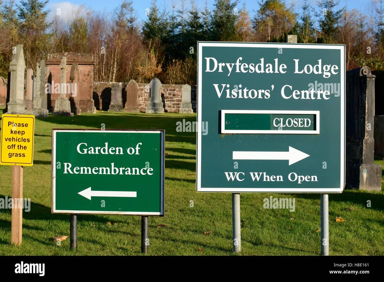 Dryfesdale Lodge sign - Lockerbie air disaster - Stock Image